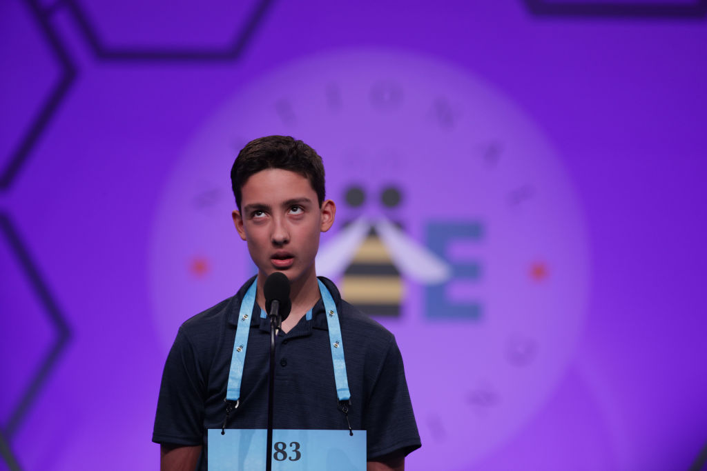 Elliott Husseman of Poway, California, tries to spell his word during round three of the Scripps National Spelling Bee at the Gaylord National Resort & Convention Center May 28, 2019 in National Harbor, Maryland.