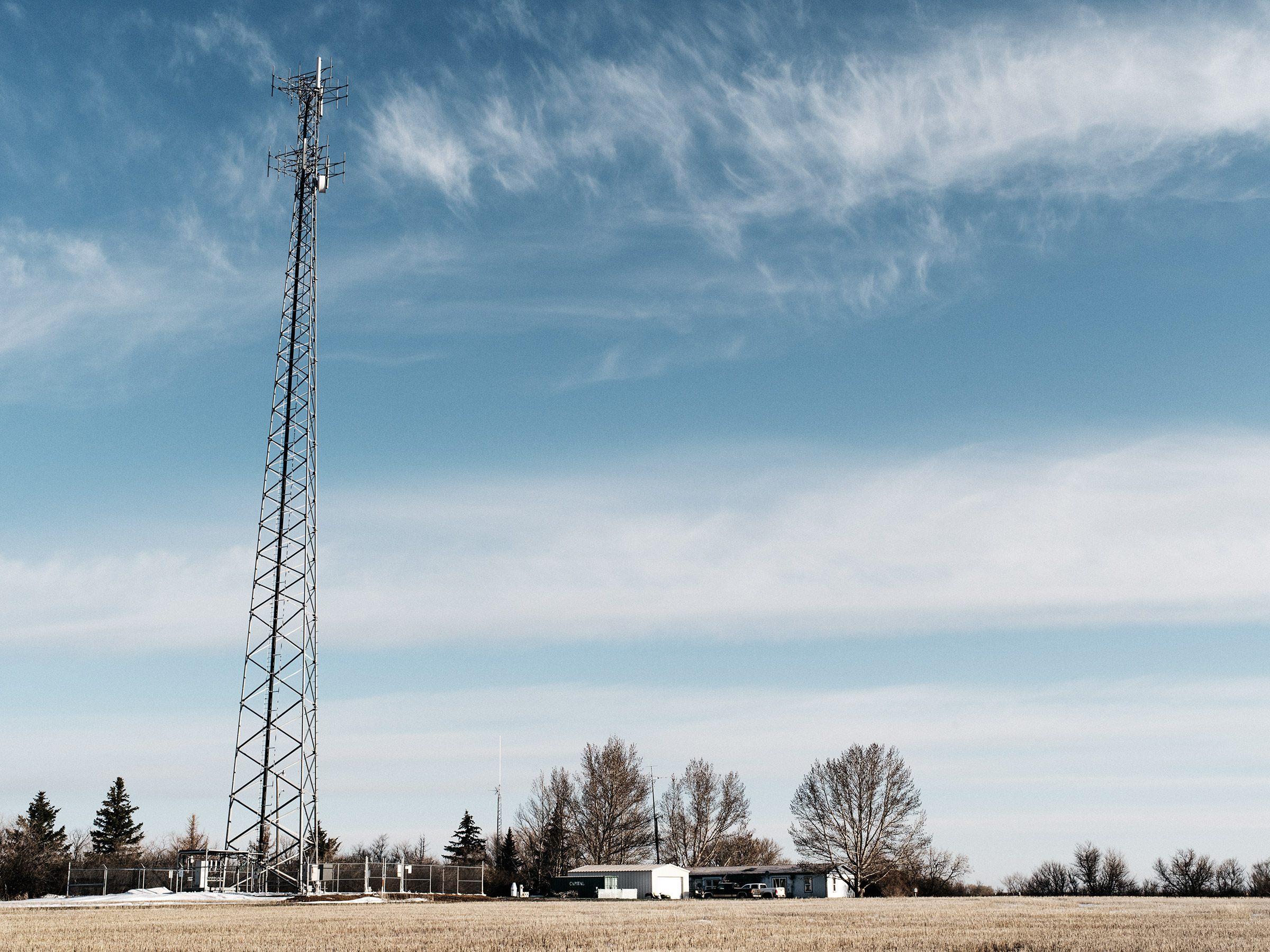 The tower built by Nemont in Honrud's yard in rural Montana. The remote property relies on Huawei technology for all its cell service