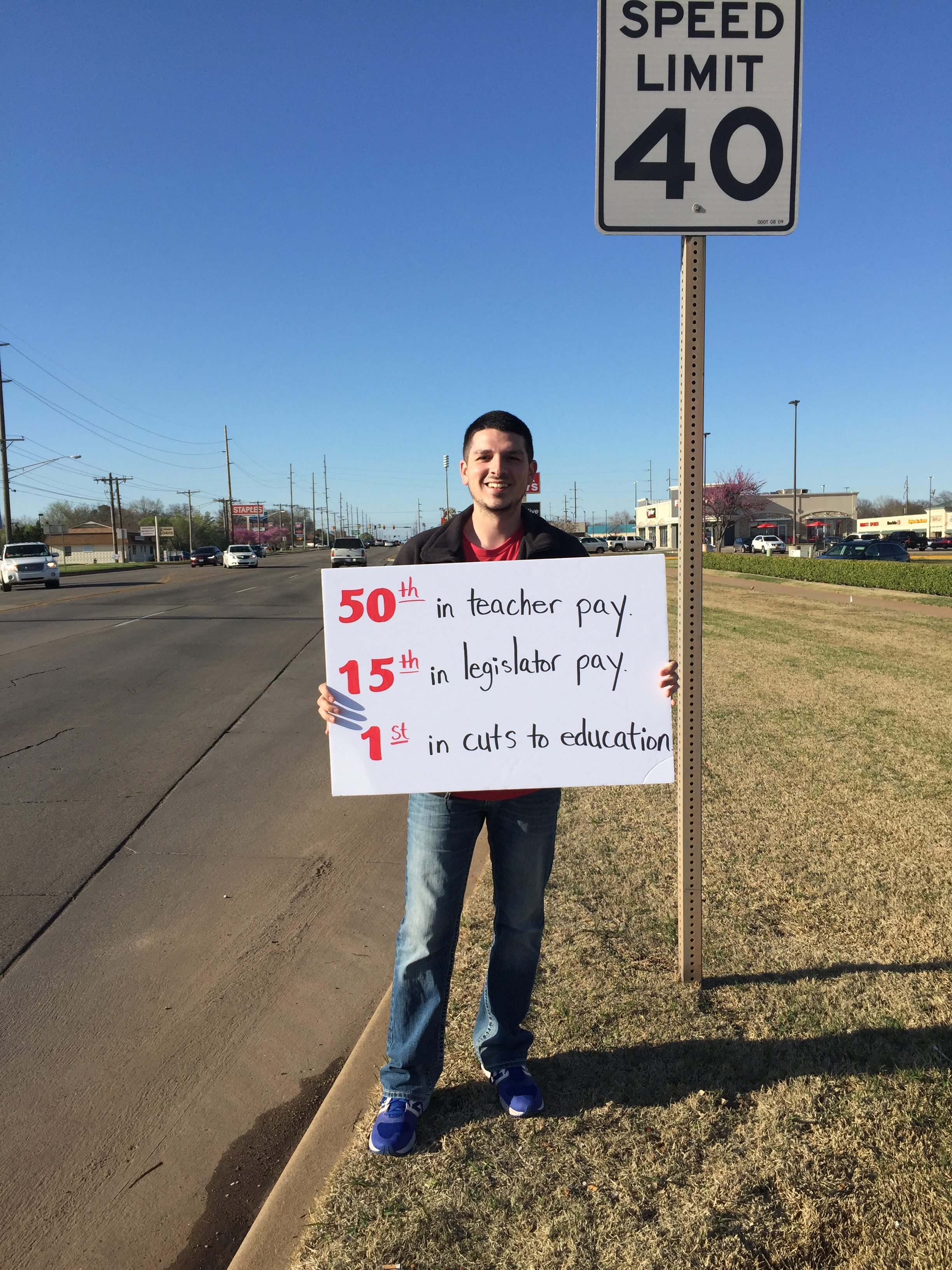 Alberto Morejon during the walkout by Oklahoma teachers in April 2018.