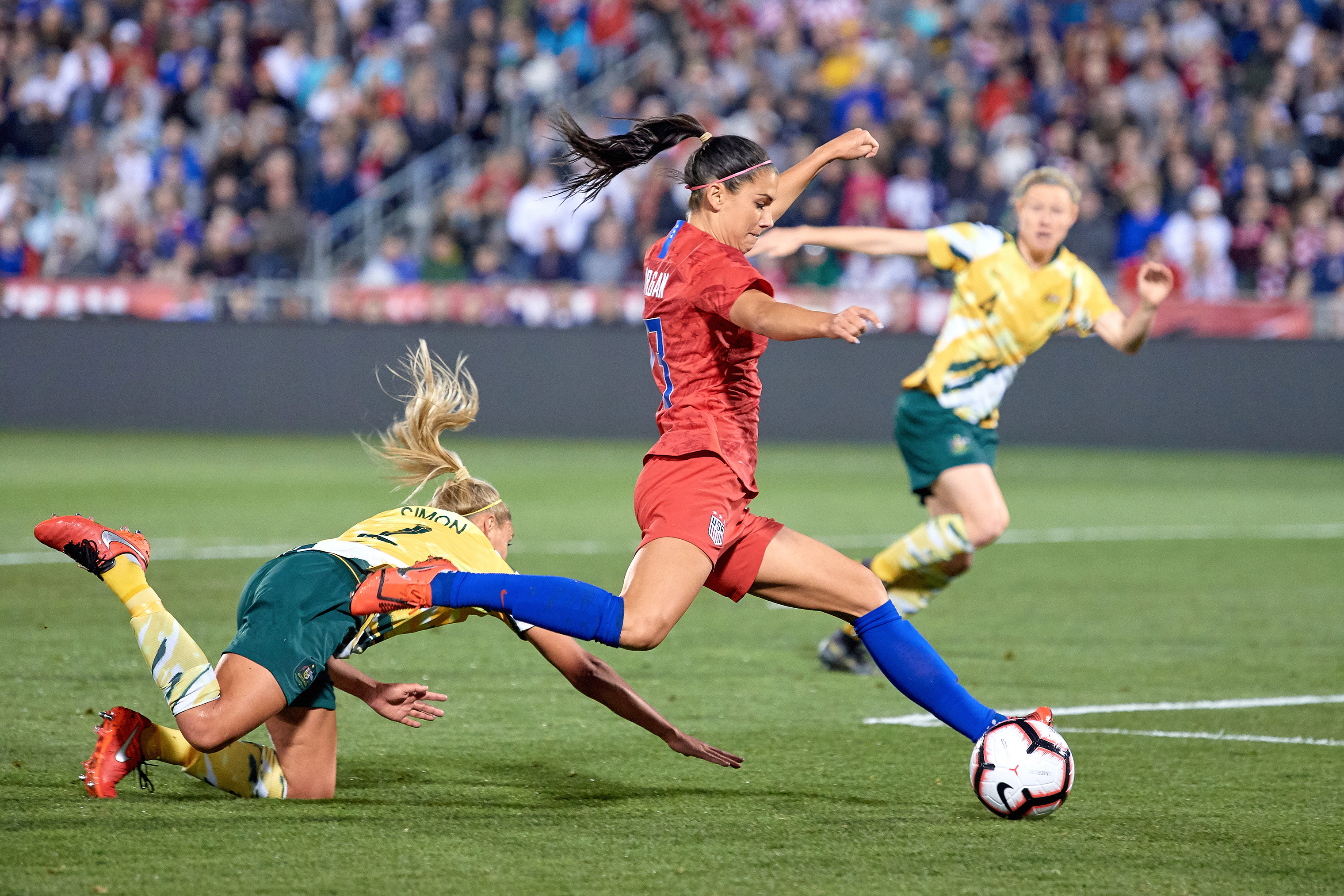Morgan, during the game in which she scored her 100th career international goal this past April.