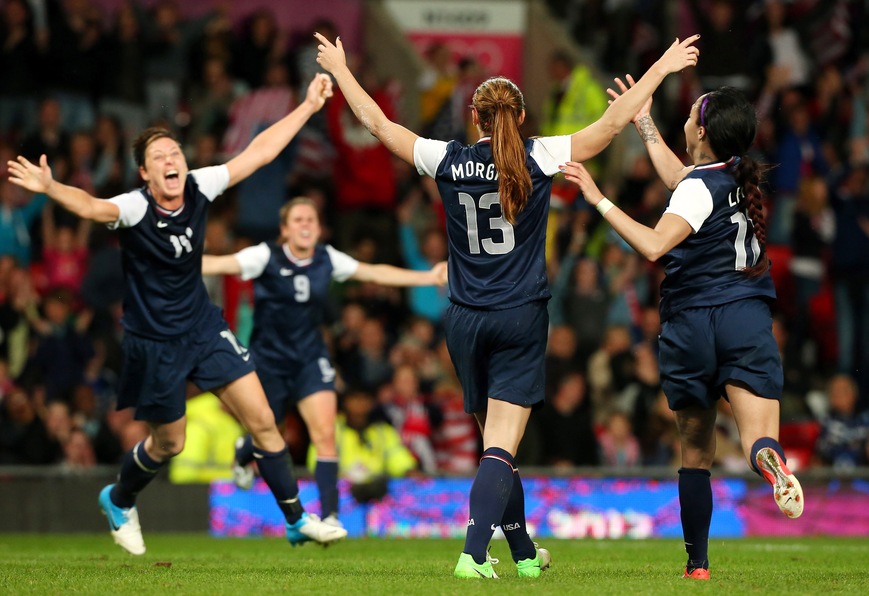 Morgan celebrating her legendary goal to beat Canada at the 2012 Olympics