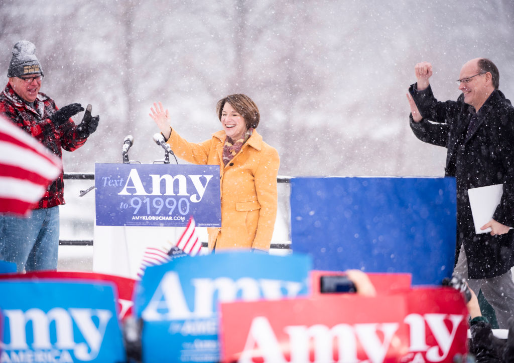 Sen. Amy Klobuchar (D-MN) takes the stage to announce her presidential bid in front of a crowd gathered at Boom Island Park on February 10, 2019 in Minneapolis, Minnesota.