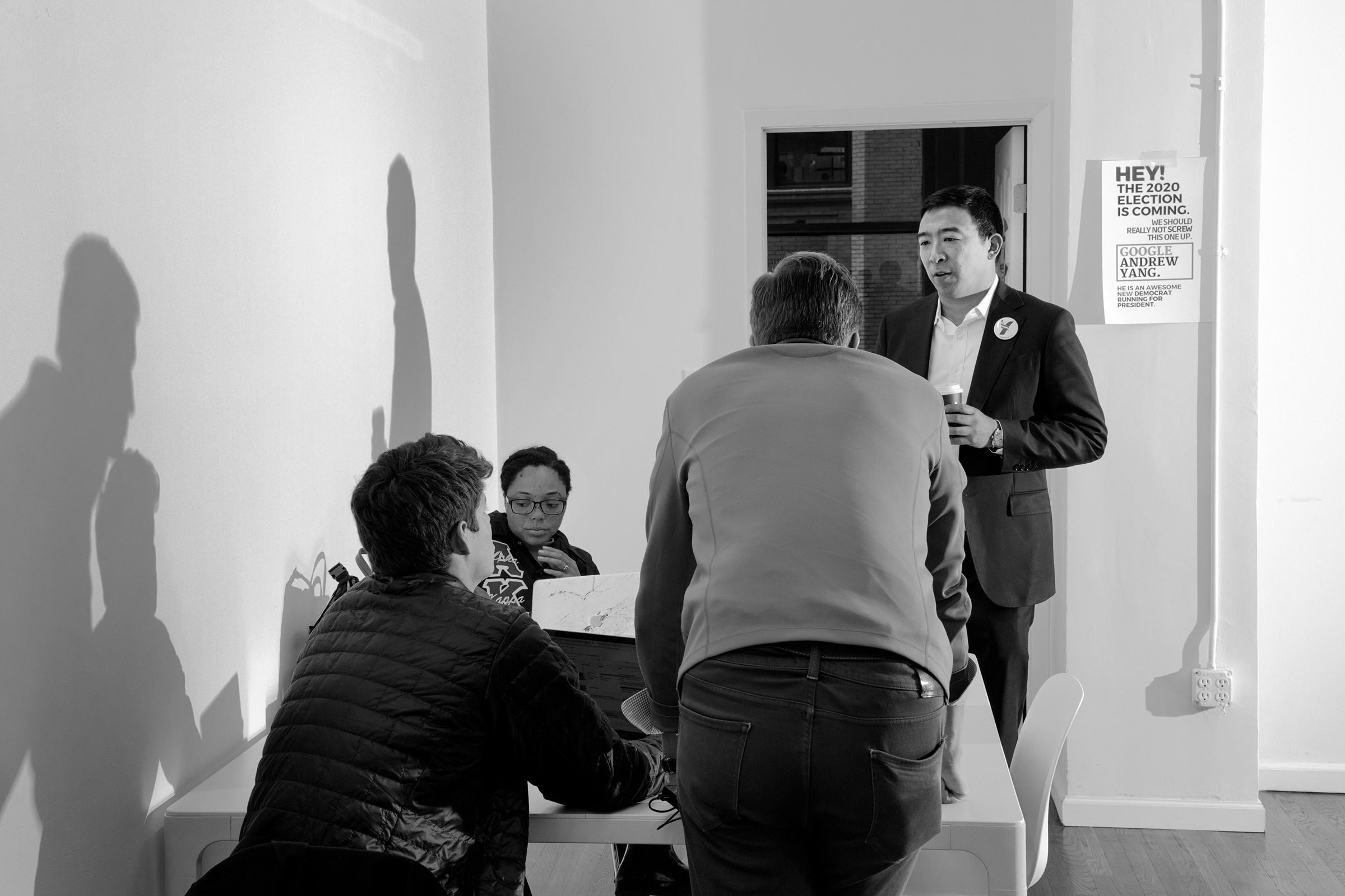 Democratic presidential candidate Andrew Yang at his campaign office in Manhattan, May 14, 2019.