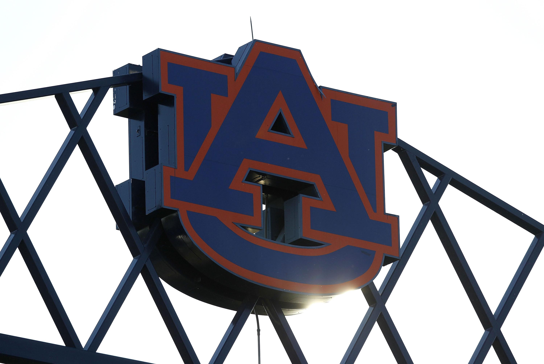Photo of the Auburn University logo at the top of Jordan-Hare Stadium during the game between the Arkansas Razorbacks and the Auburn Tigers on October 16, 2010 in Auburn, Alabama.