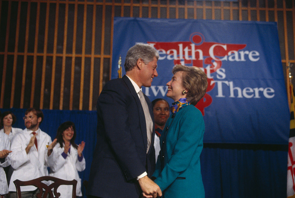 President Bill and First Lady Hillary Clinton strike a pose at an event promoting their proposed national health care plan.