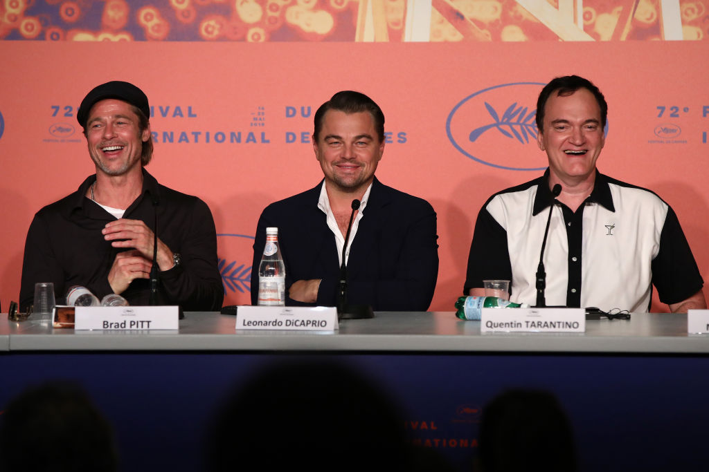 Brad Pitt, Leonardo DiCaprio and Quentin Tarantino attend the  Once Upon A Time In Hollywood  Press Conference during the 72nd annual Cannes Film Festival on May 22, 2019 in Cannes, France.