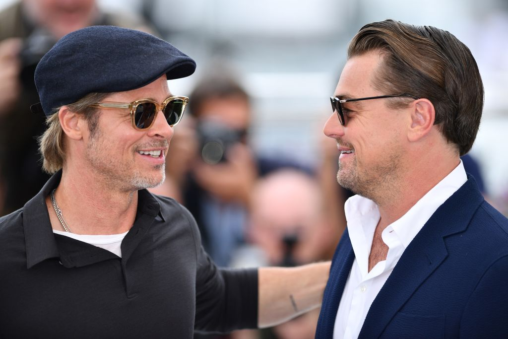 US actor Brad Pitt (L) and US actor Leonardo DiCaprio (R) pose during the photocall for the film 'Once Upon A Time... In Hollywood' in competition at the 72nd annual Cannes Film Festival in Cannes, France on May 22, 2019.