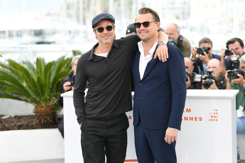 Brad Pitt and Leonardo DiCaprio attend the photocall for  Once Upon A Time In Hollywood  during the 72nd annual Cannes Film Festival on May 22, 2019 in Cannes, France.