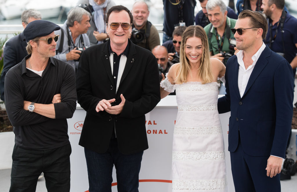 Brad Pitt, Quentin Tarantino, Margot Robbie and Leonardo DiCaprio attend the photocall for  Once Upon A Time In Hollywood  during the 72nd annual Cannes Film Festival on May 22, 2019 in Cannes, France.