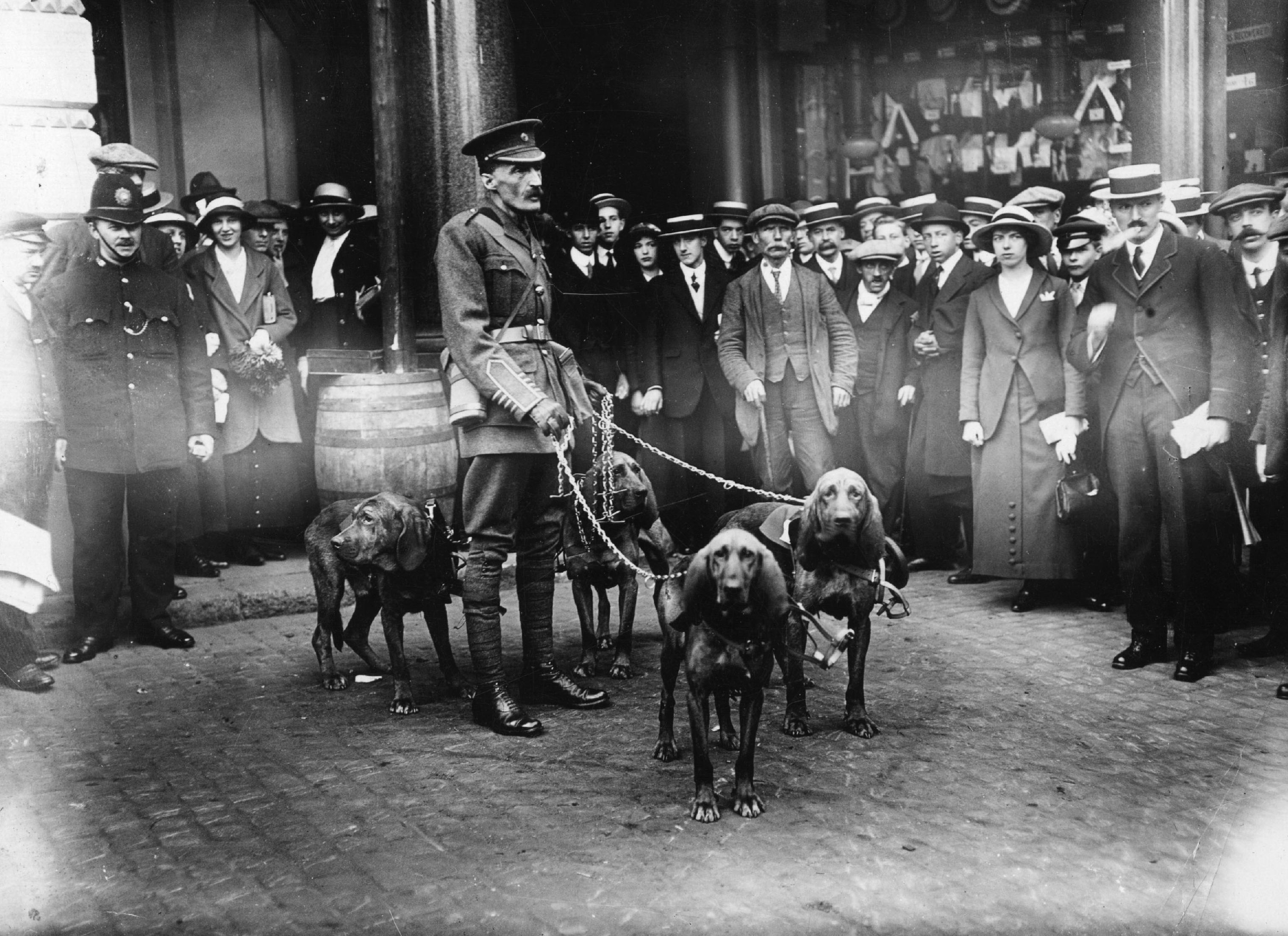 A crowd of onlookers watches Major Richardson with his bloodhounds in London on April 18,1914. They assisted the British Red Cross in locating wounded soldiers on the battlefields of World War I.