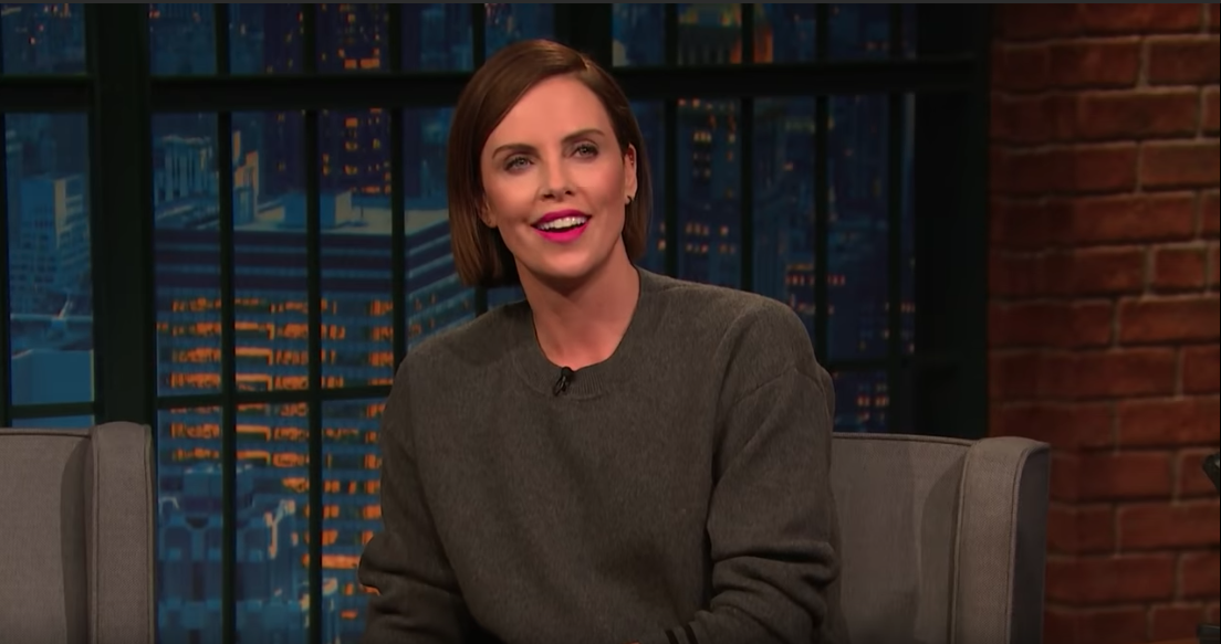 Charlize Theron appeared on NBC's 'Late Night with Seth Meyers' to promote her new movie 'Long Shot'.