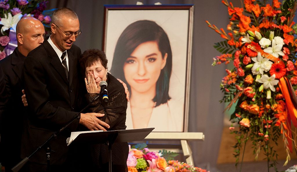 Christina Grimmie's parents Bud and Tina speak at her memorial service on June 17, 2016 in Medford, New Jersey.