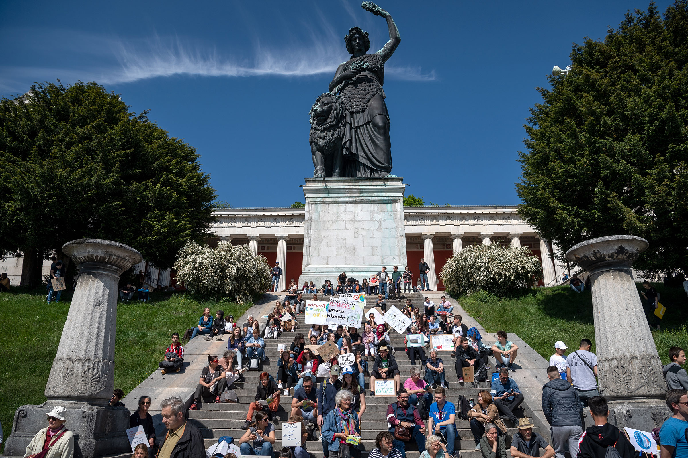 Students demonstrate in front of the Bavaria Statue during the climate strikes for the implementation of the Paris World Climate Convention in Bavaria, Munich on May 24, 2019.