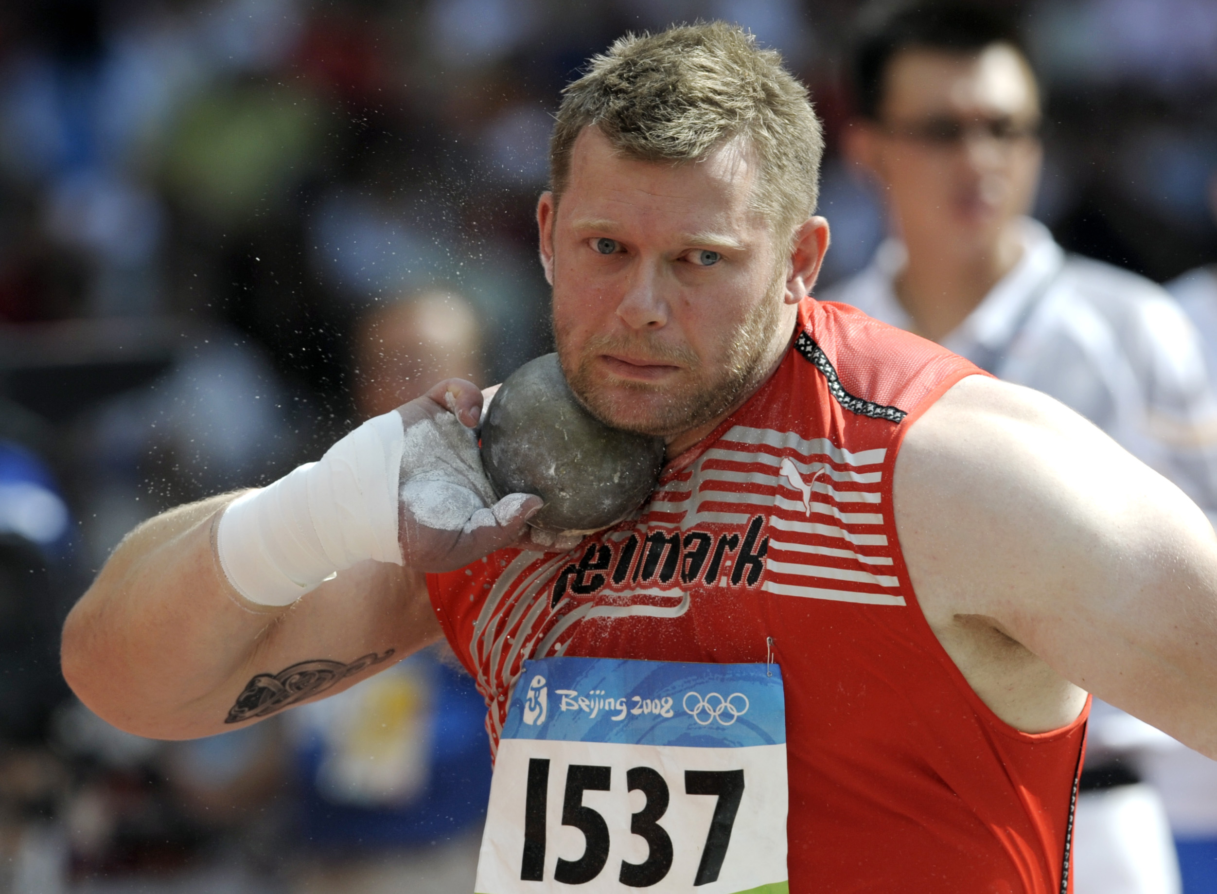 Denmark's Joachim Broechner Olsen participates in the men's shot put during the athletics competitions in the National Stadium  at the Beijing 2008 Olympics in Beijing on Aug. 15, 2008.