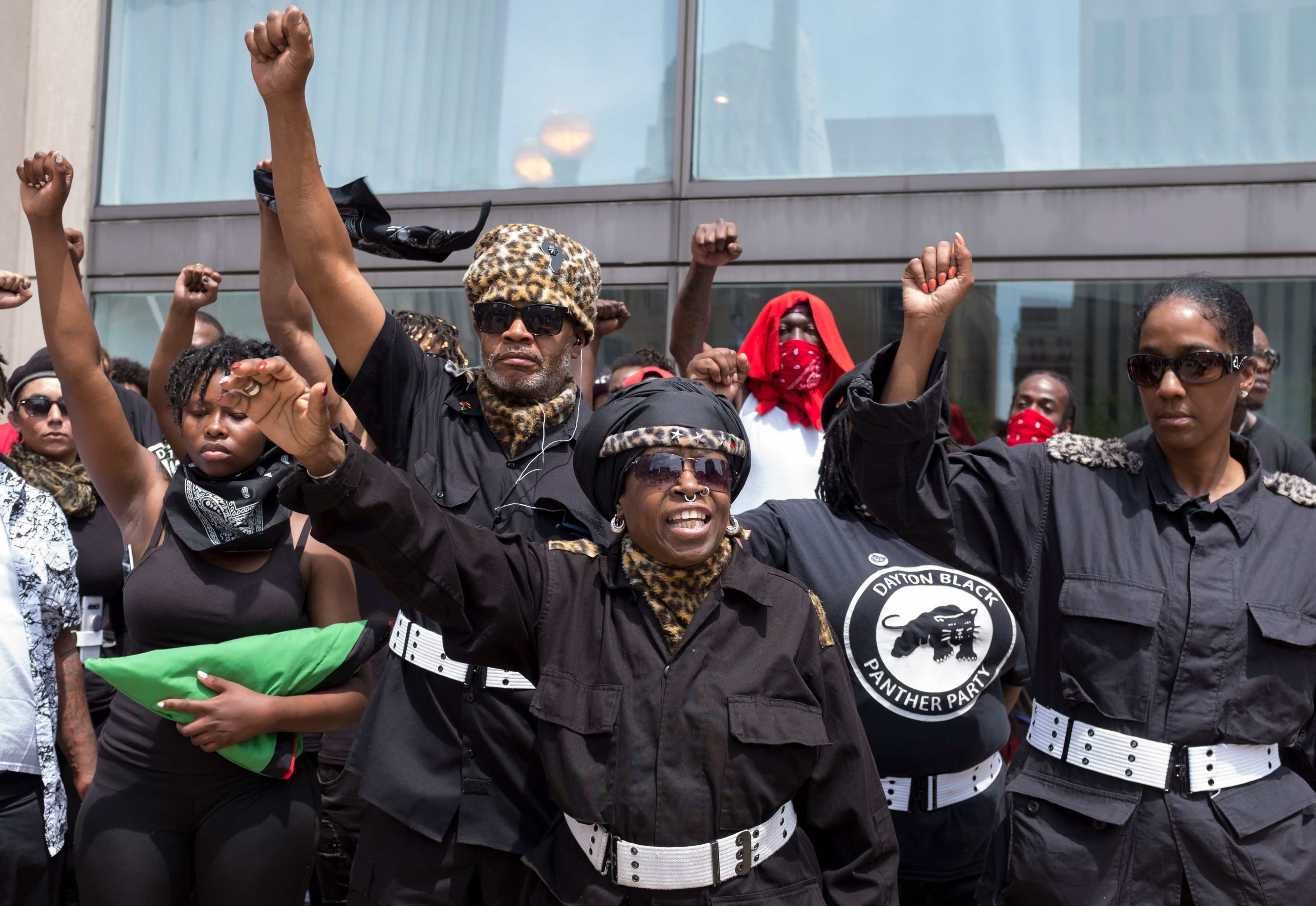 The Dayton chapter of the Black Panthers protest against a small group from a KKK-affiliated group during a rally in Dayton, Ohio, May 25, 2019.
