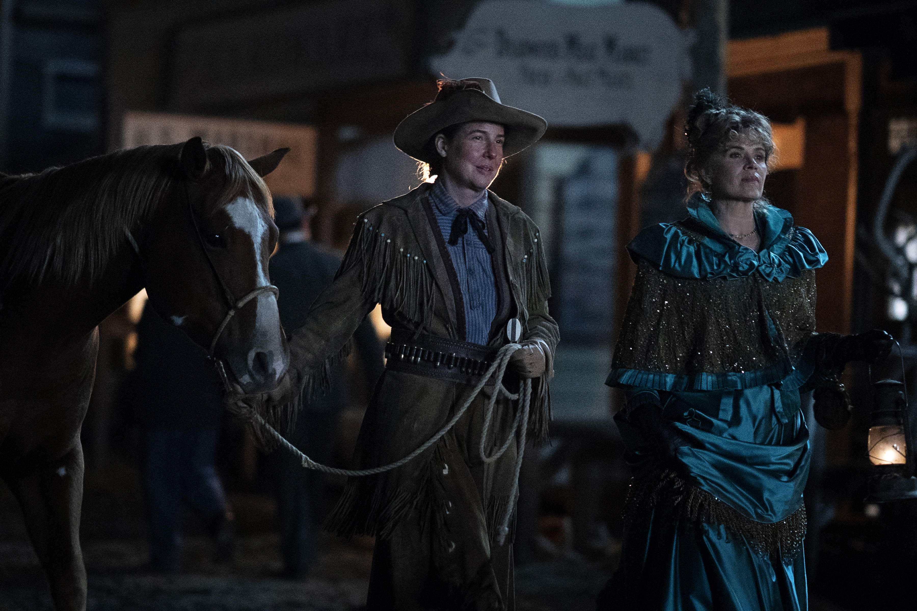 Calamity Jane (Robin Weigert) and Joanie Stubbs (Kim Dickens) in the Deadwood movie.