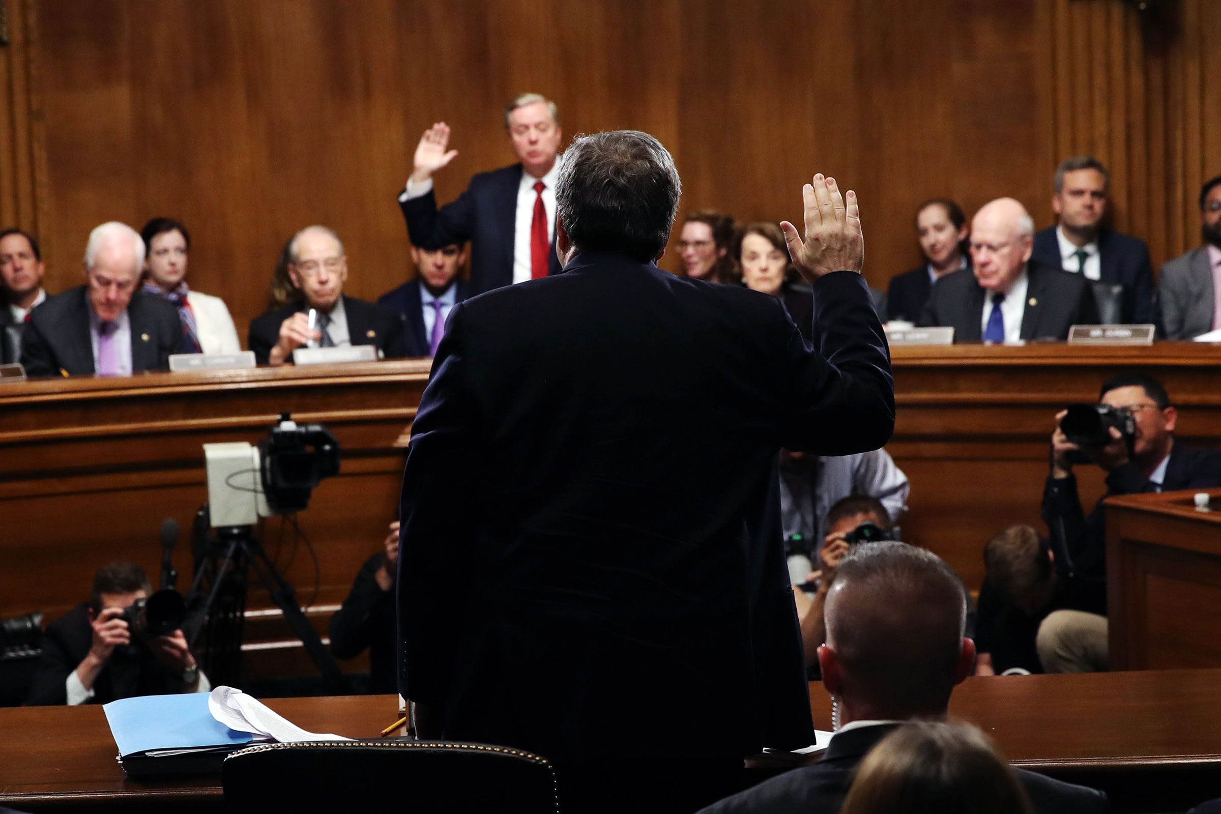 Attorney General William Barr is sworn in to testify about the Mueller report before the Senate on May 1