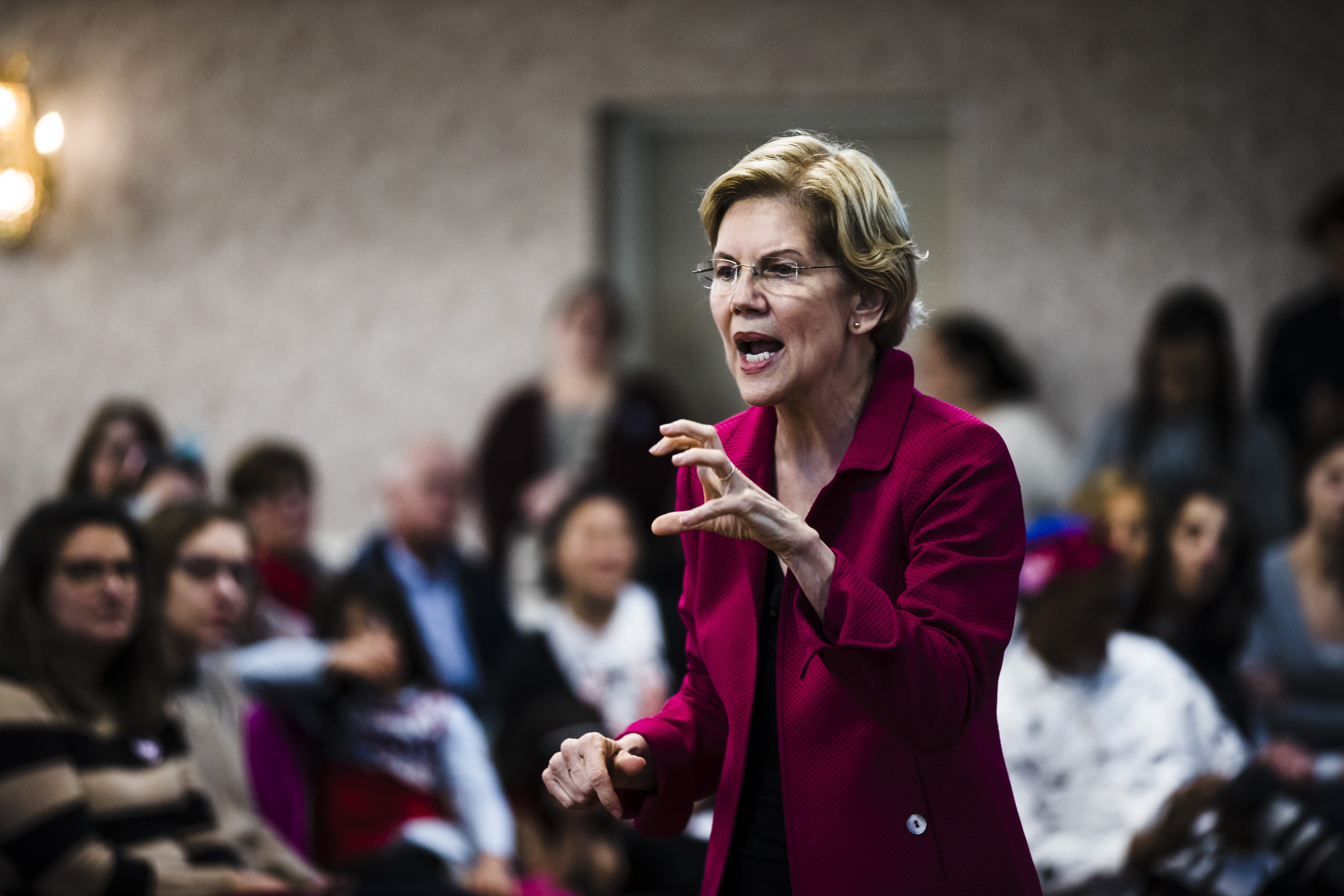 Democratic presidential candidate Sen. Elizabeth Warren during an American Federation of Teachers town hall event, at the Plumbers Local 690 Union Hall in Philadelphia on Monday, May 13, 2019. Warren is saying no to a televised town hall on Fox News, slamming the network as  a hate-for-profit racket.