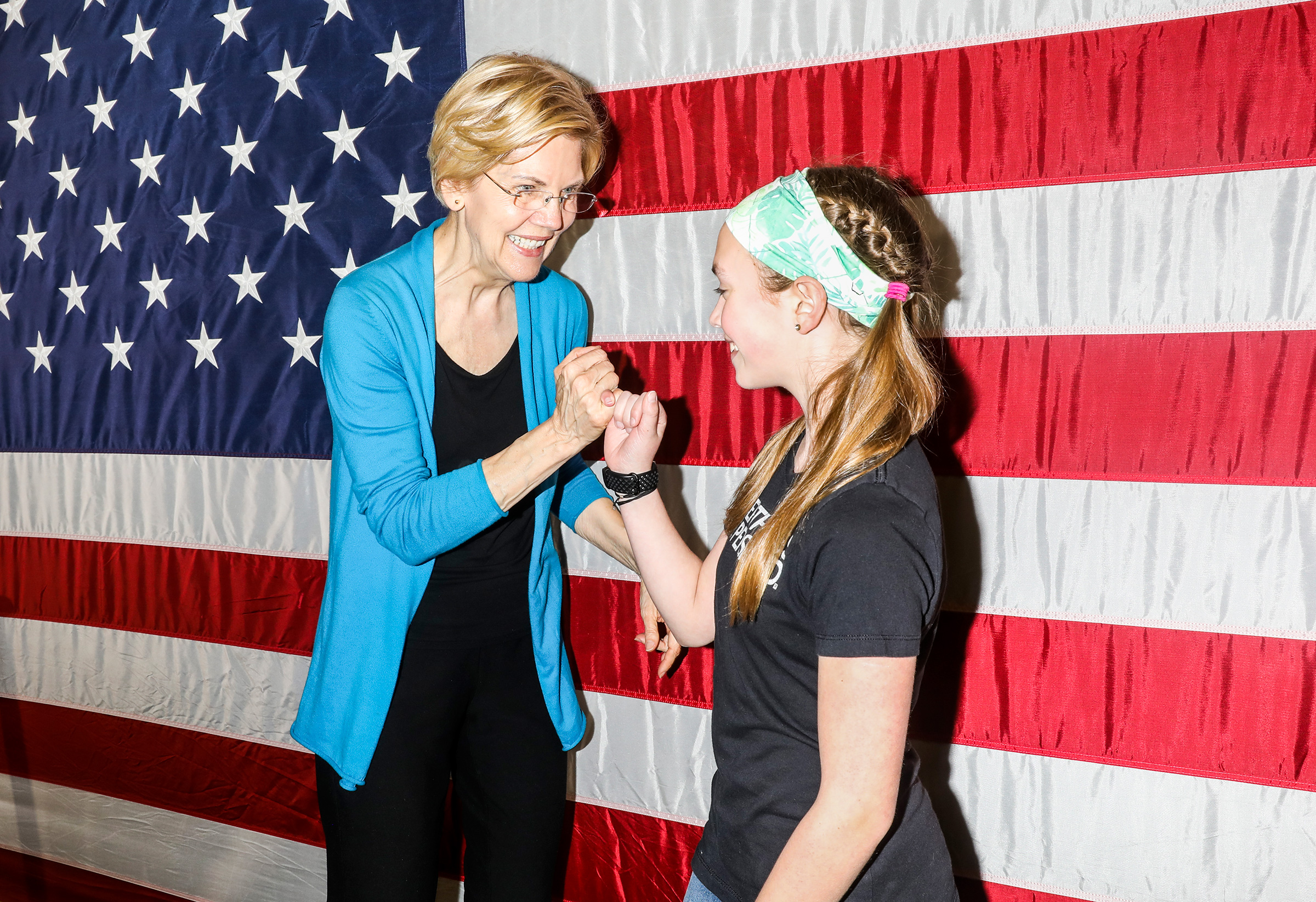 Warren on the campaign trail on May 3 in Iowa, where she's hired dozens of paid staff to compete in the first caucus state.