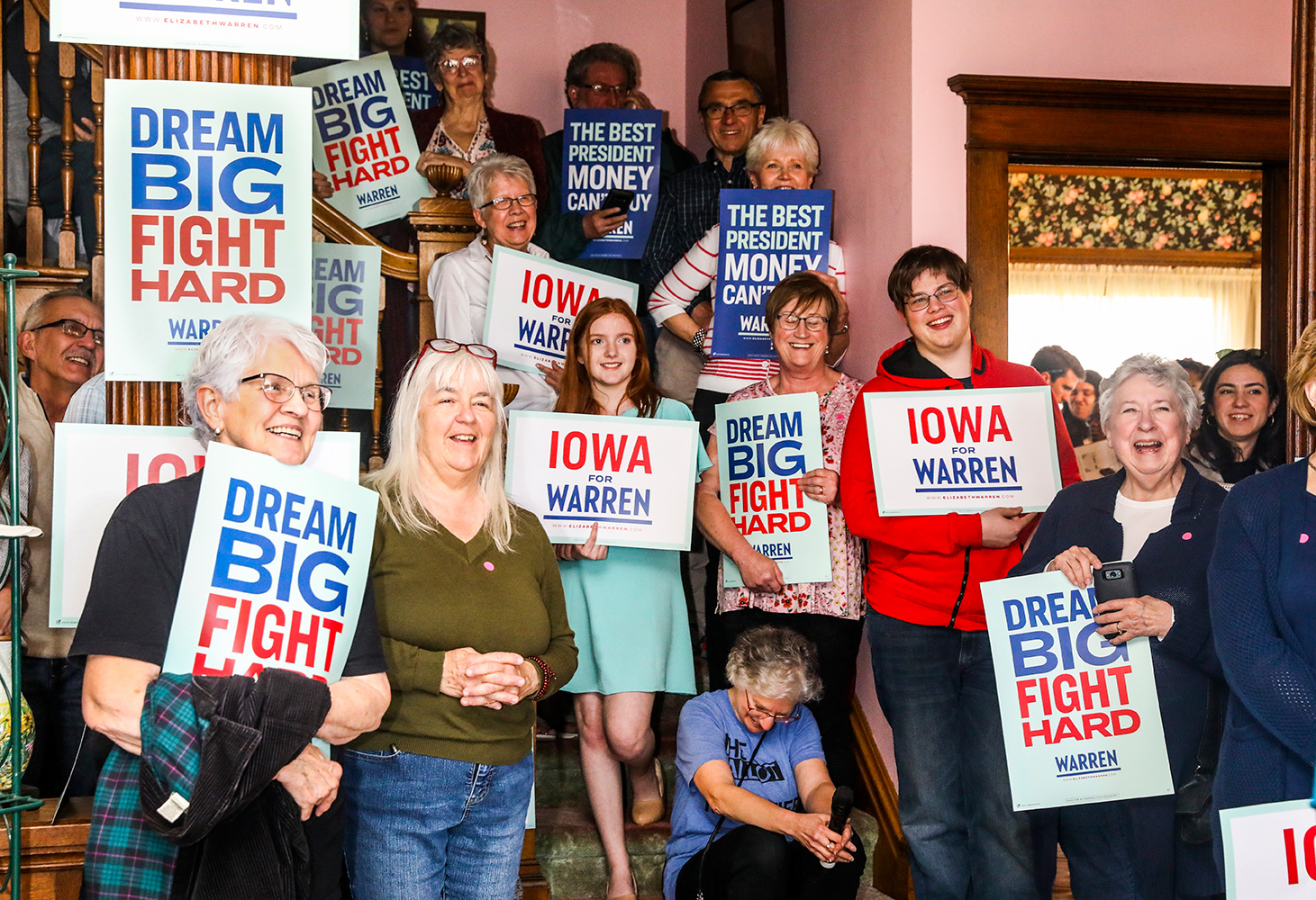 Supporters at a house party at River's Bend Bed & Breakfast in Iowa Falls on May 3.