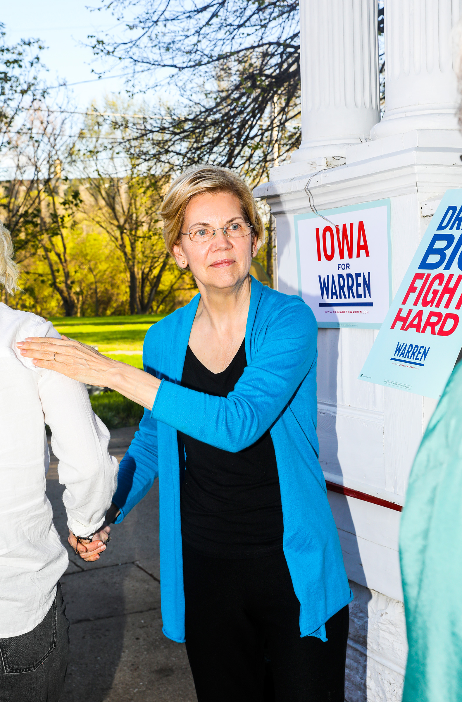 Warren greets supporters at a house party in Iowa Falls on May 3.