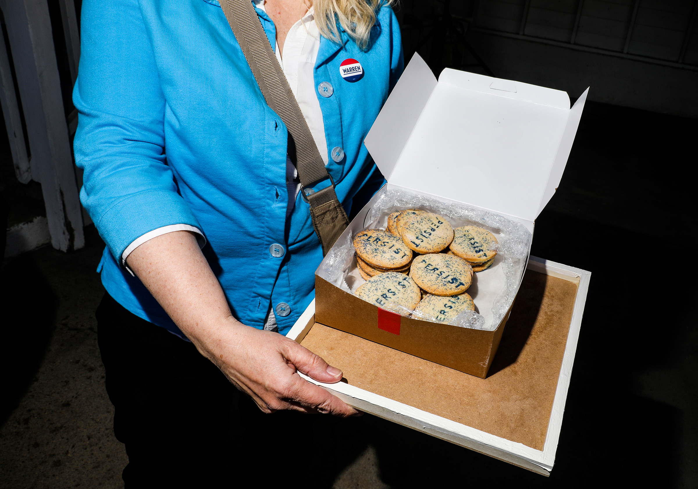 Warren supporter Barbara Weniger came all the way from Boston with cookies for the Iowa Falls House Party on May 3.