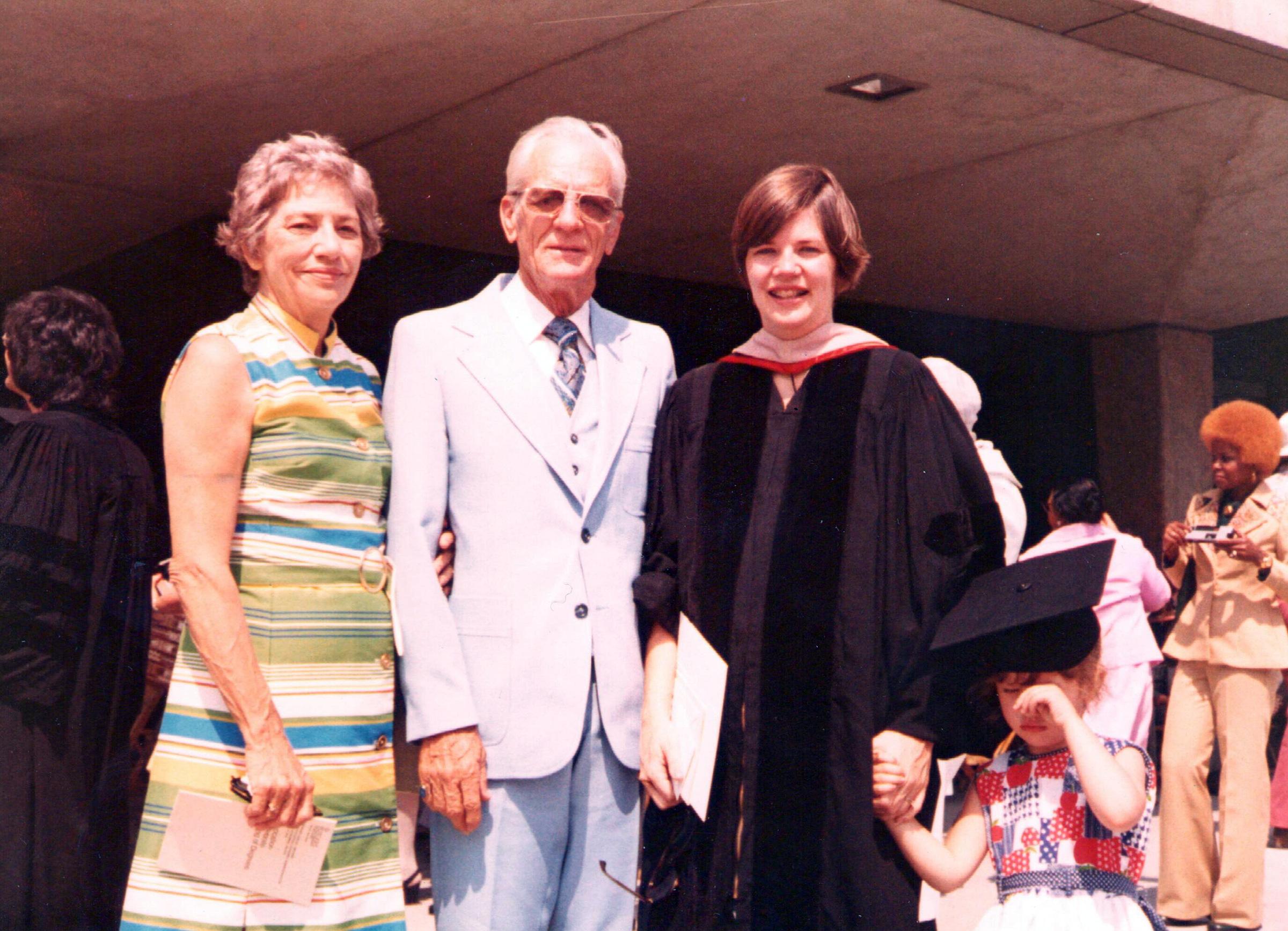 Warren with her parents Pauline and Donald Jones Herring at Rutgers Law graduation, circa 1976.