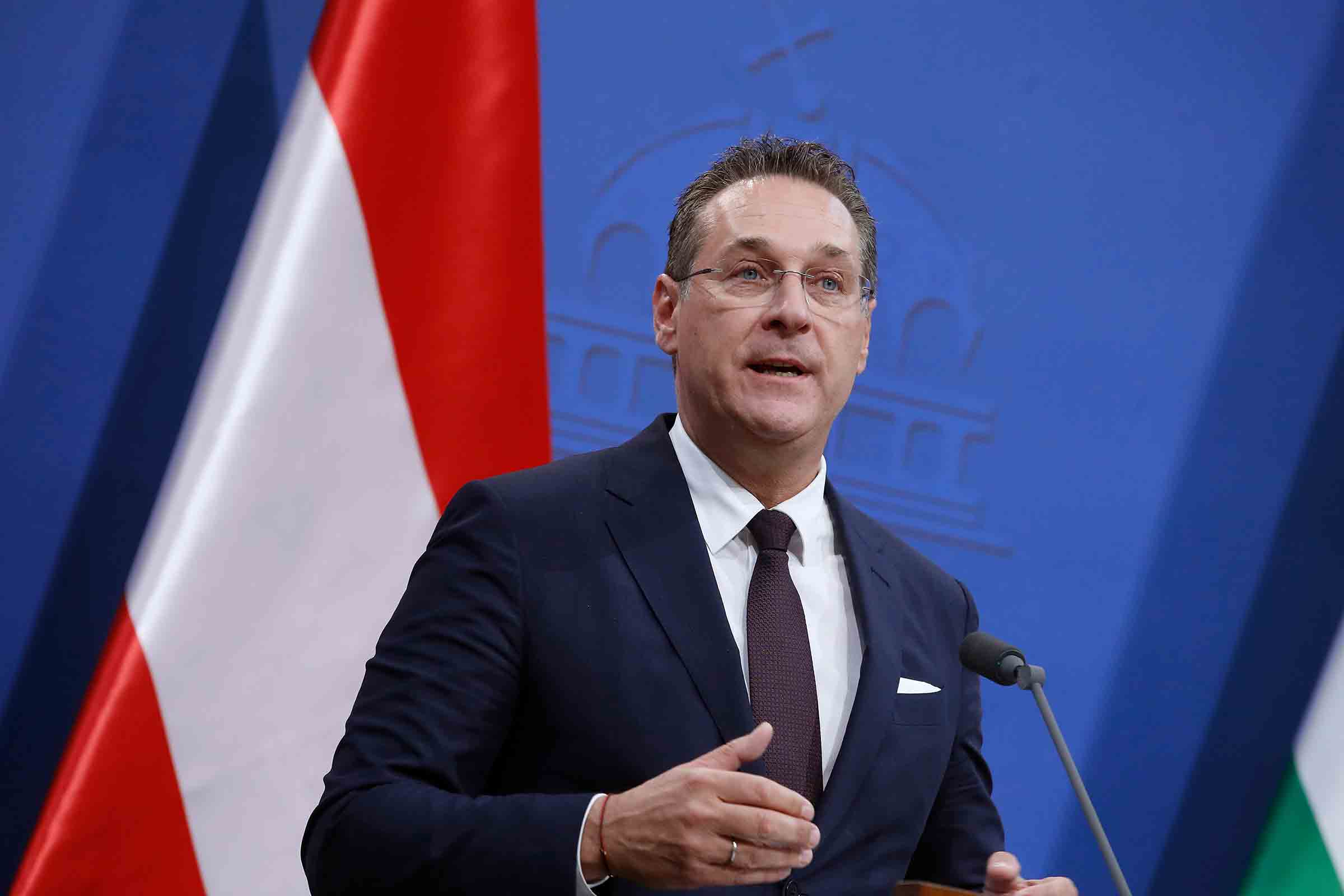 Austrian Vice Chancellor Heinz Christian Strache speaks during a press conference in Budapest, May 6, 2019.