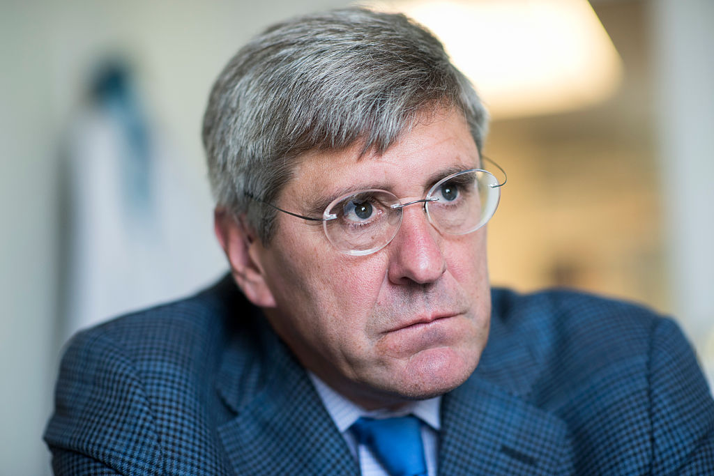 Stephen Moore of The Heritage Foundation is interviewed by CQ in his Washington office, Aug. 31, 2016. President Donald Trump says Moore, his pick for the Federal Reserve board, has withdrawn amid controversy.