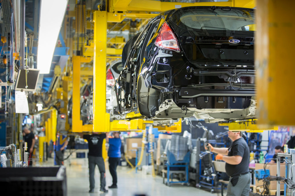 Assembly line for the production of the Ford Fiesta at the Ford plant in Cologne-Niehl on February 15, 2017 in Cologne, Germany. The company announced Monday that it planned to prepare for a future of electric and autonomous vehicles by parting ways with 7,000 white-collar workers worldwide.