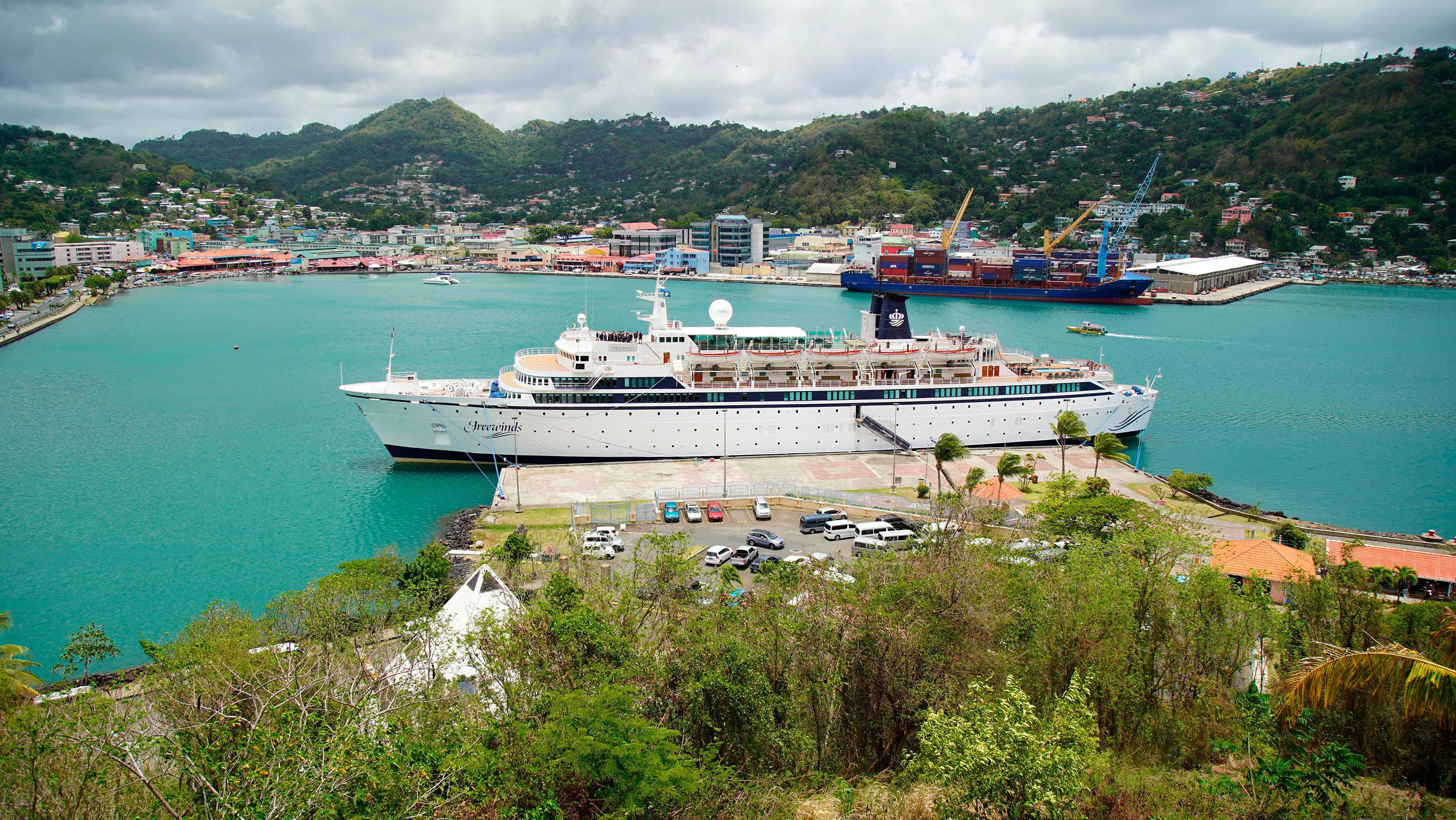 The Freewinds cruise ship is docked in the port of Castries, the capital of St. Lucia on May 2, 2019. Authorities in the eastern Caribbean island have quarantined the ship after discovering a confirmed case of measles aboard.