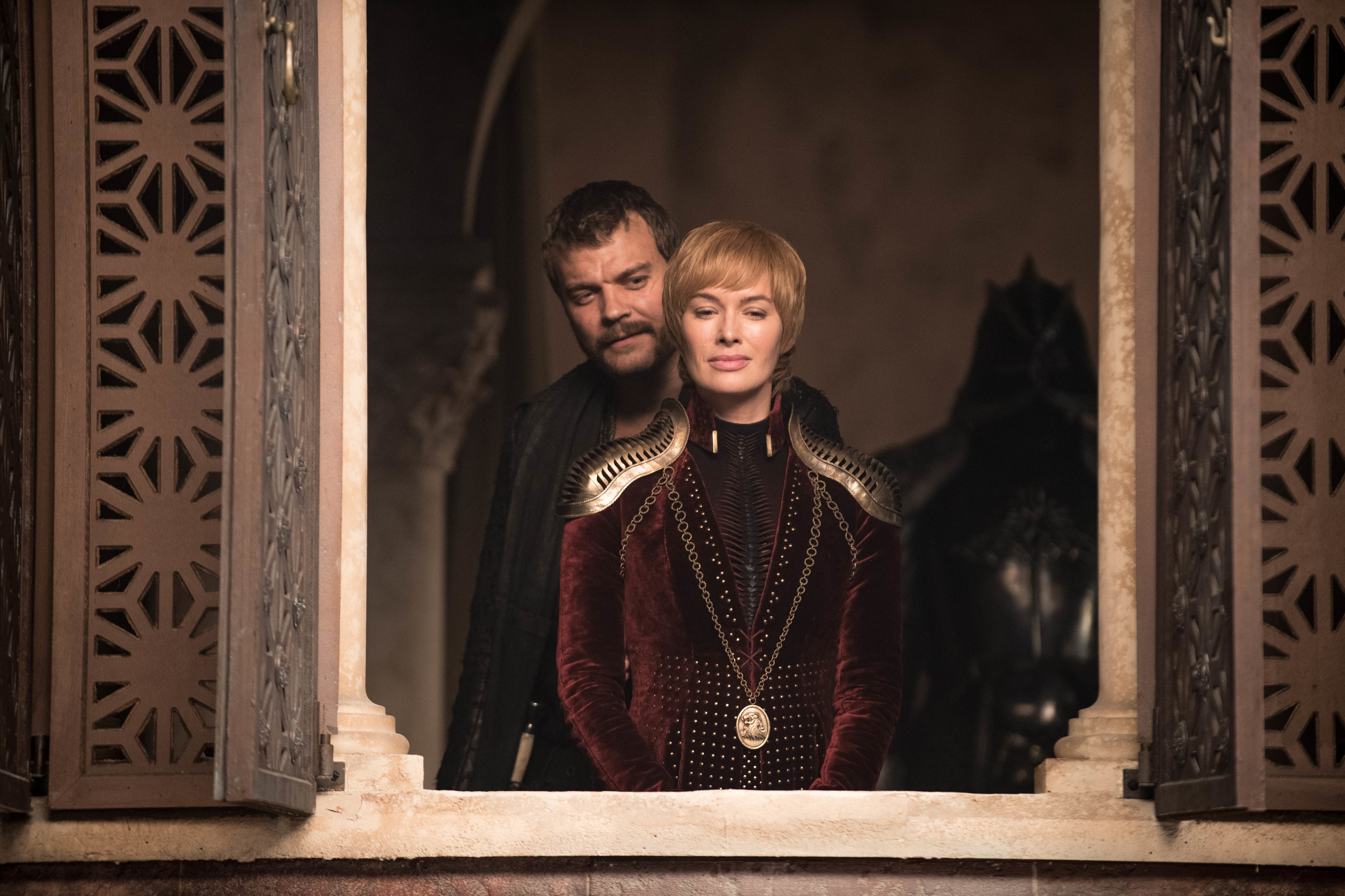 Pilou Asbæk as Euron Greyjoy and Lena Headey as Cersei Lannister.