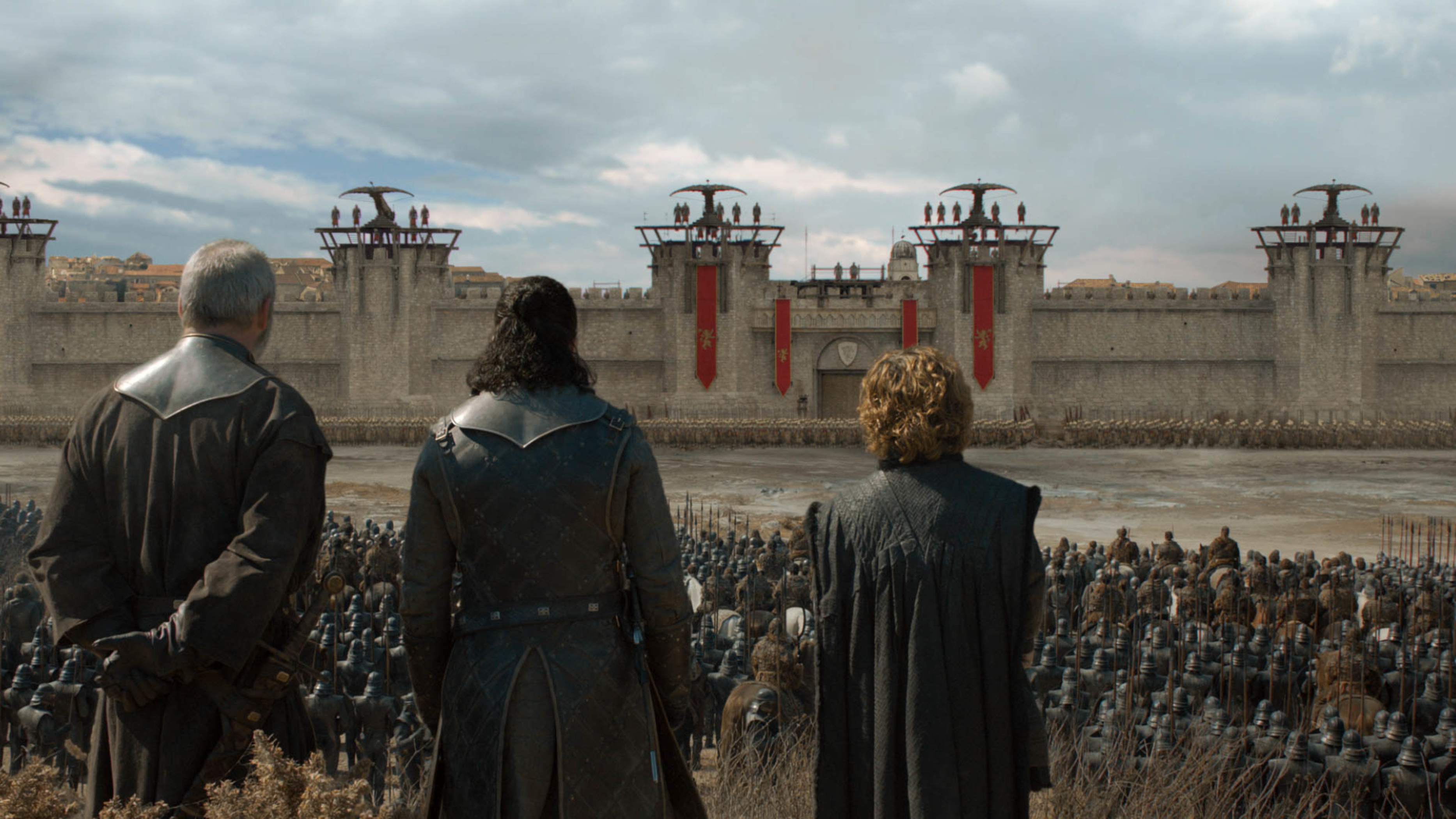 Liam Cunningham as Davos Seaworth, Kit Harington as Jon Snow, and Peter Dinklage as Tyrion Lannister.