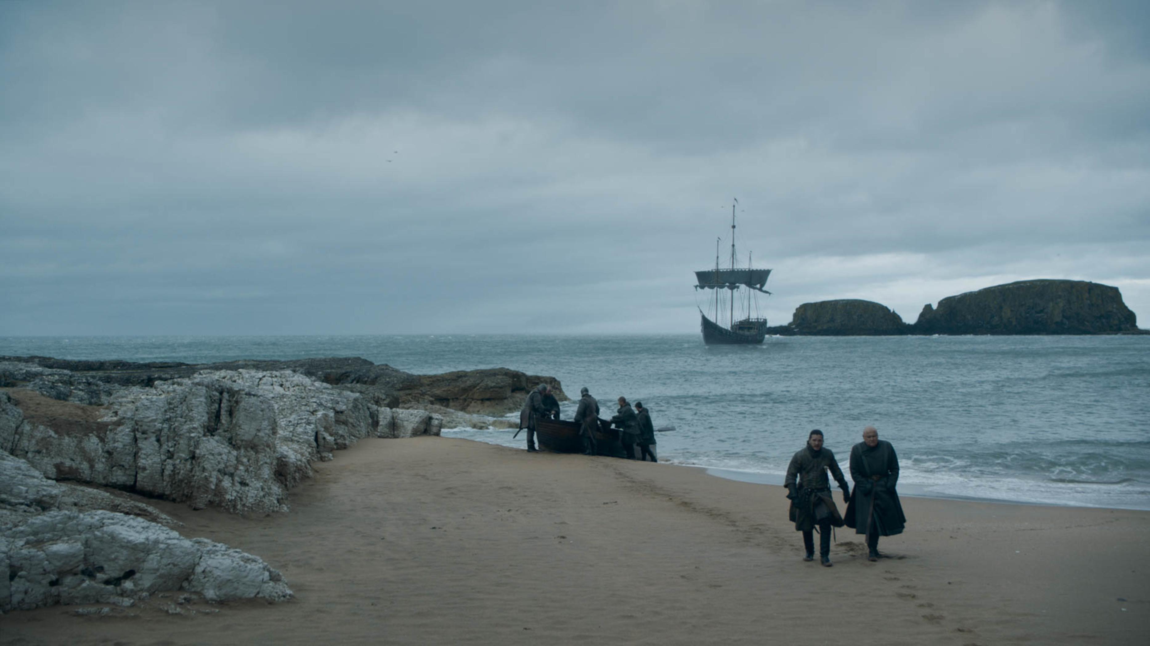 Kit Harington as Jon Snow and Conleth Hill as Varys.