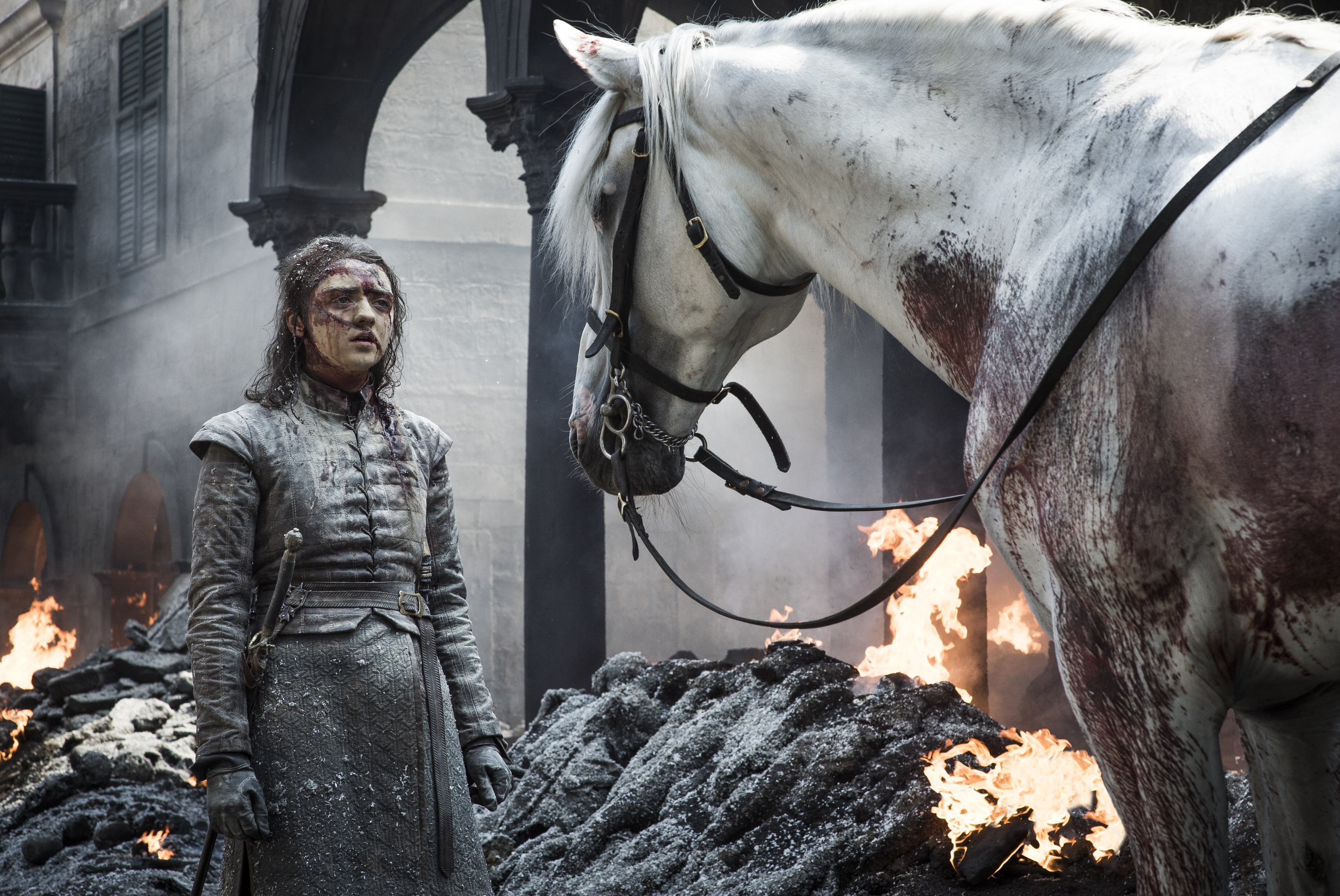 Arya Stark fights for survival in Game of Thrones season 8 episode 5.
