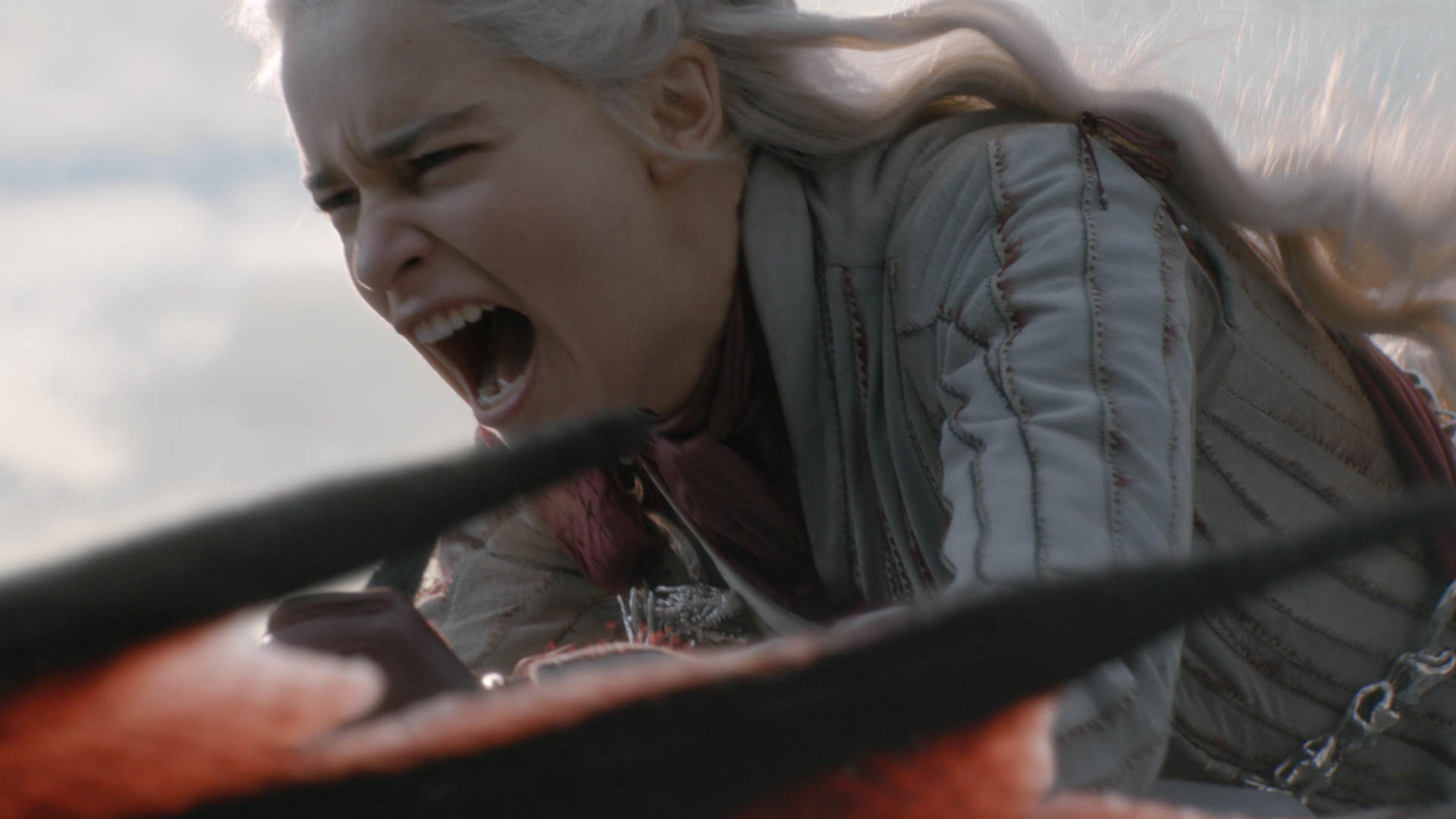 Daenerys Targaryen rides a dragon while retaliating for a surprise attack in Game of Thrones' season 8, episode four