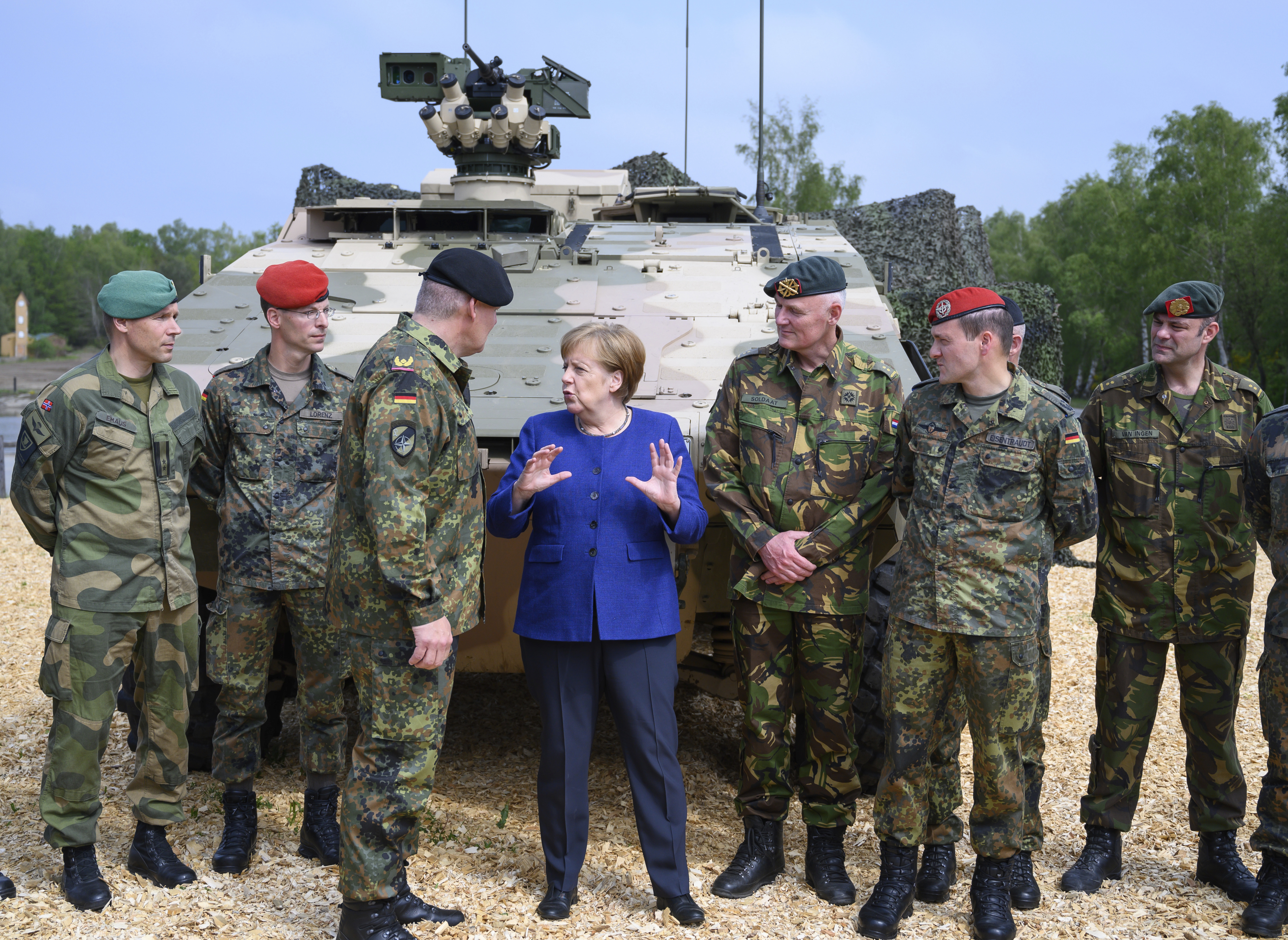 Chancellor Angela Merkel  comes to a demonstration of the Very High Readiness Joint Task Force (VJTF) and talks to VJTF commanders and leaders on May 20, 2019 in Munster, Germany. In 2019, Germany will be responsible for the Nato rapid reaction force.