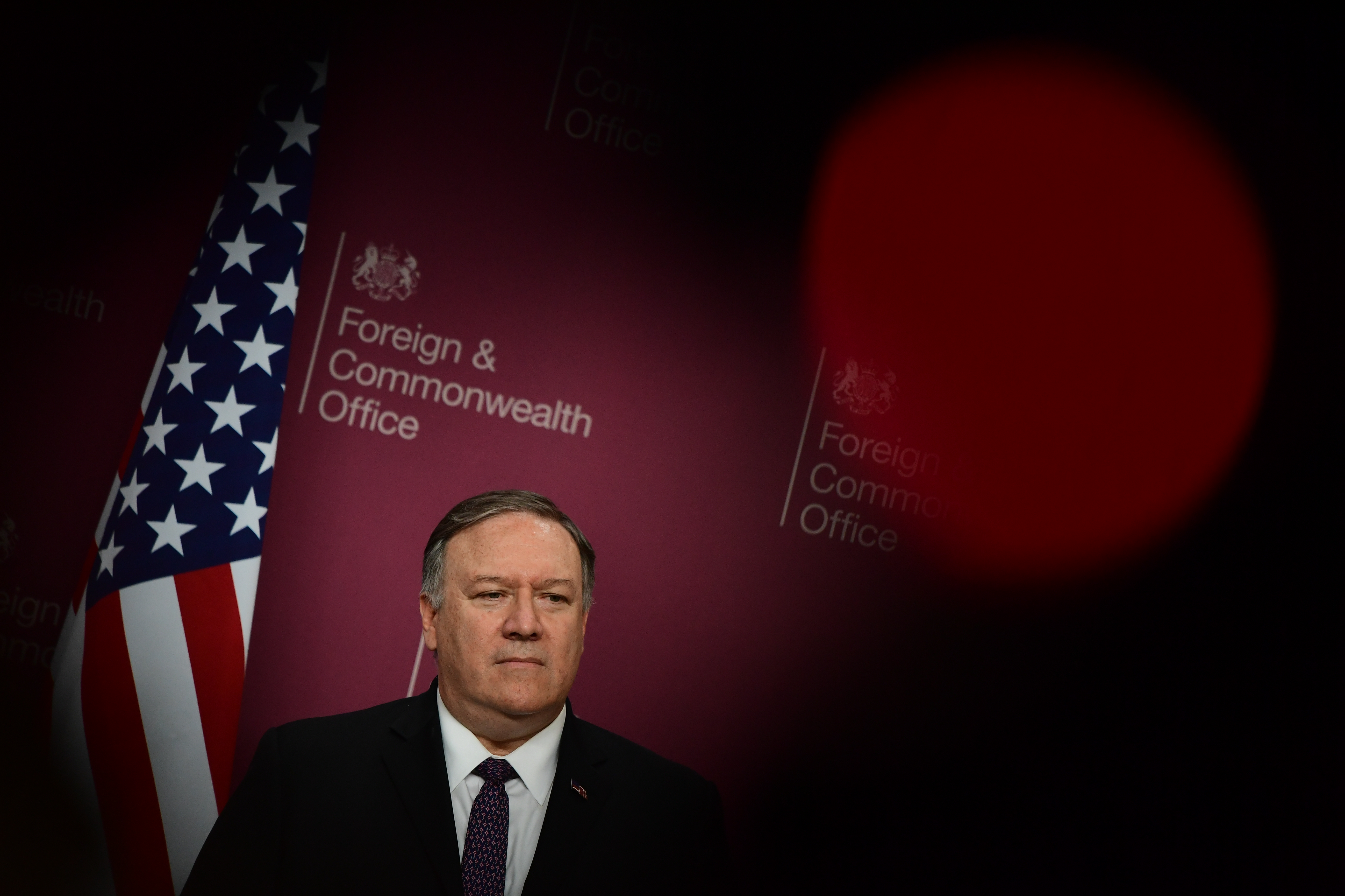 LONDON, ENGLAND - MAY 08:  US Secretary of State Mike Pompeo attends a joint press conference with Foreign Secretary Jeremy Hunt at Foreign & Commonwealth Office, on May 8, 2019 in London, England.