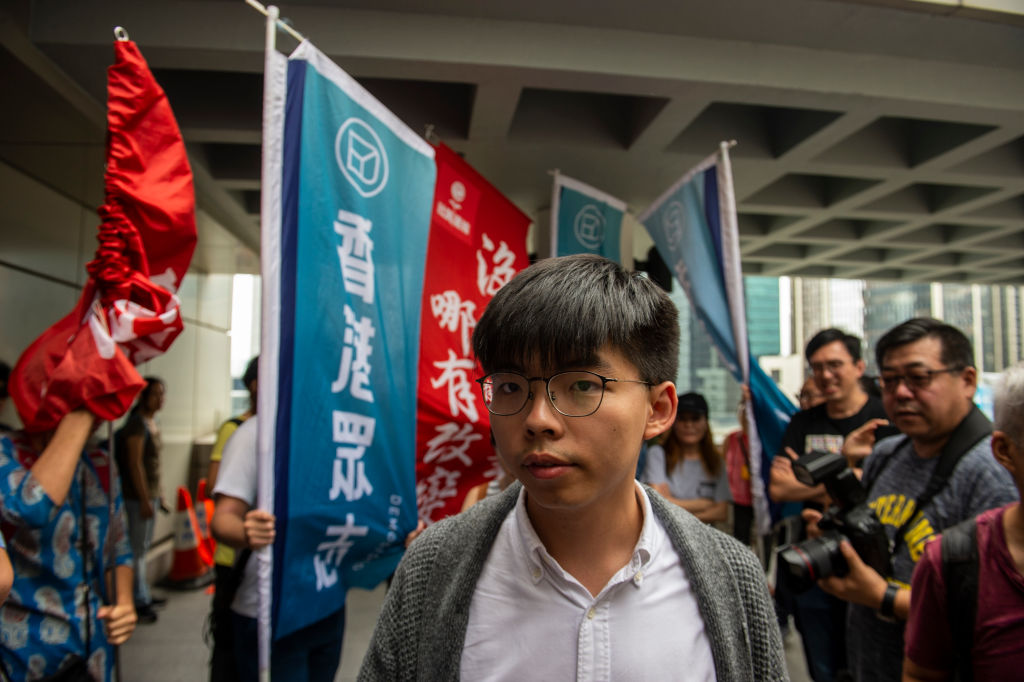 Activist Joshua Wong is seen outside a court house in Hong Kong on May 16, 2019.