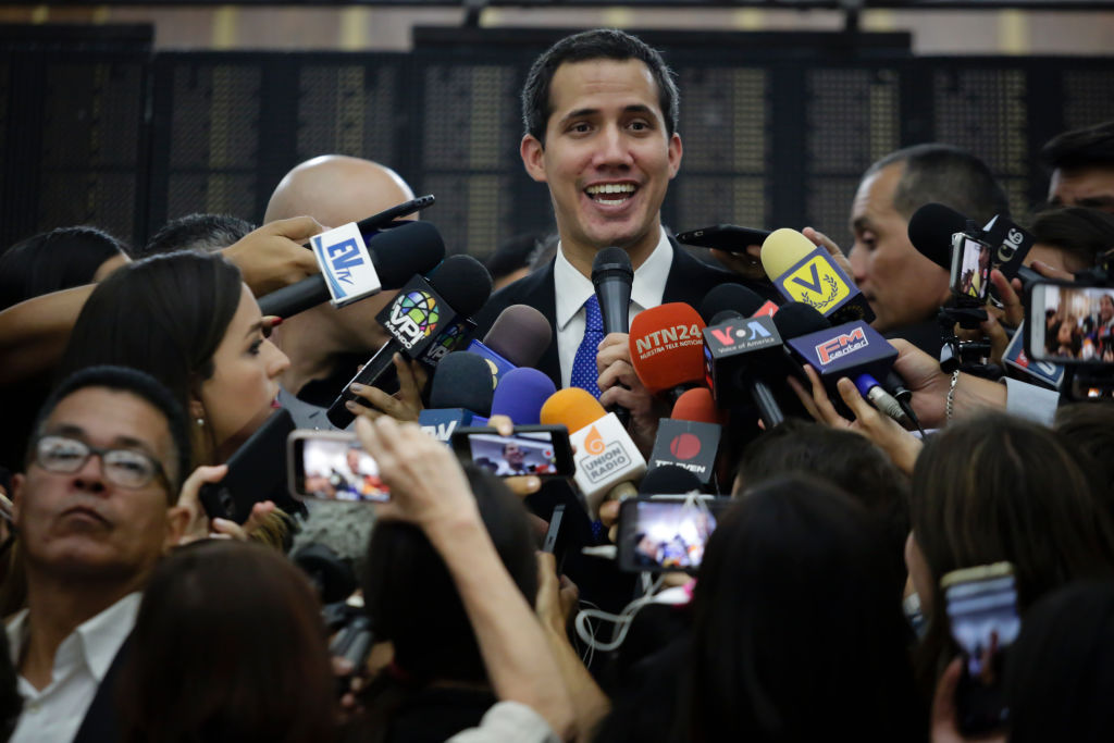 Venezuelan opposition leader Juan Guaidó, recognized by many members of the international community as the country's rightful interim ruler, speaks during a press conference as part of Operacion Libertad at Edificio Camara de Comercio on May 16, 2019 in Caracas, Venezuela.