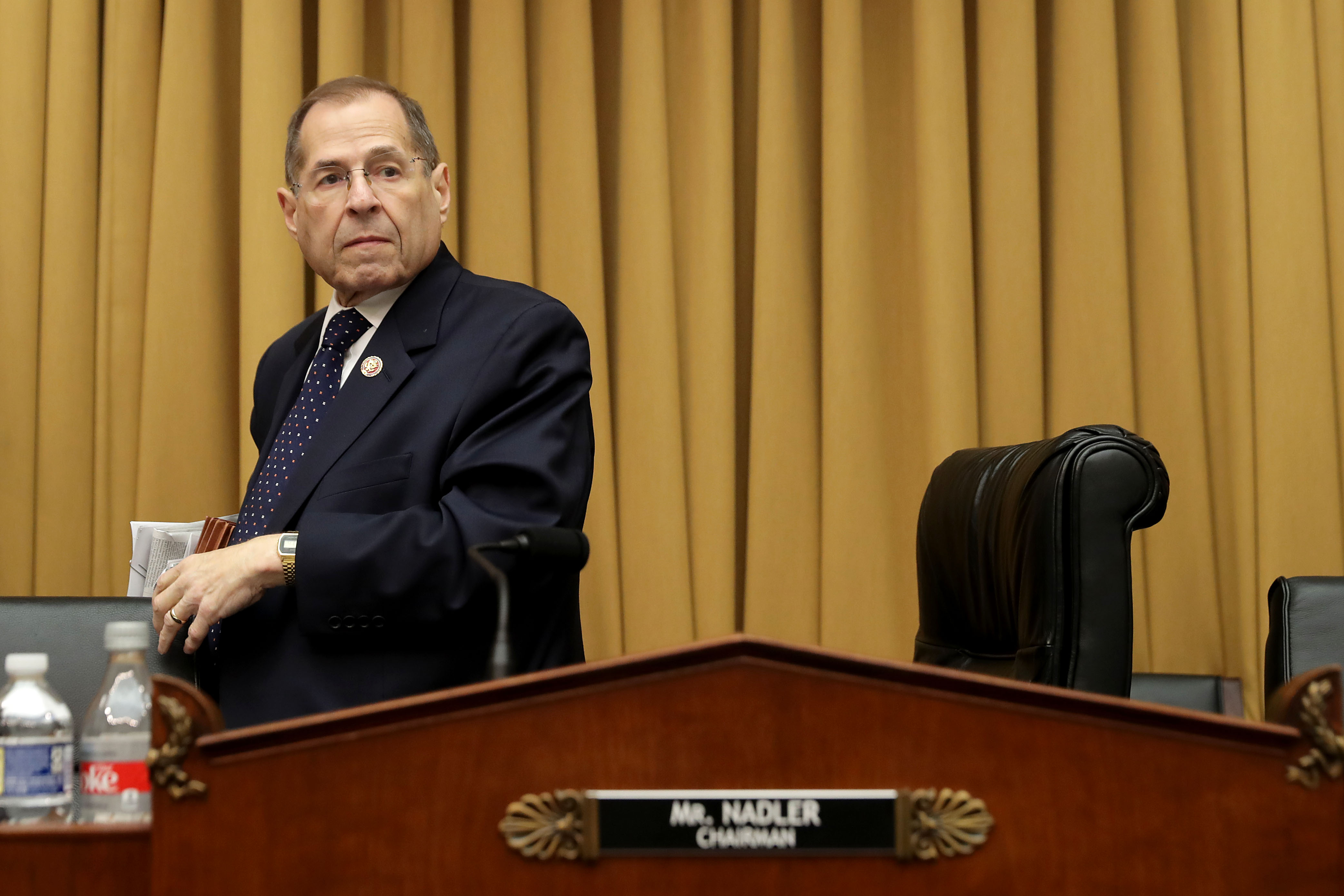 House Judiciary Committee Chairman Jerry Nadler (D-NY) leaves after the committee voted to hold Attorney General William Barr in contempt of Congress for not providing an un-redacted copy of special prosecutor Robert Mueller's report in the Rayburn House Office Building on Capitol Hill May 08, 2019 in Washington, DC.