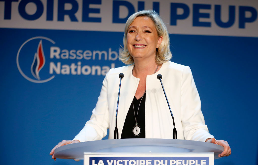 French far-Right National Rally (RN- Rassemblement National) political party leader, Marine Le Pen makes a statement after the projections for the results of the European Parliament elections on May 26, 2019 in Paris, France