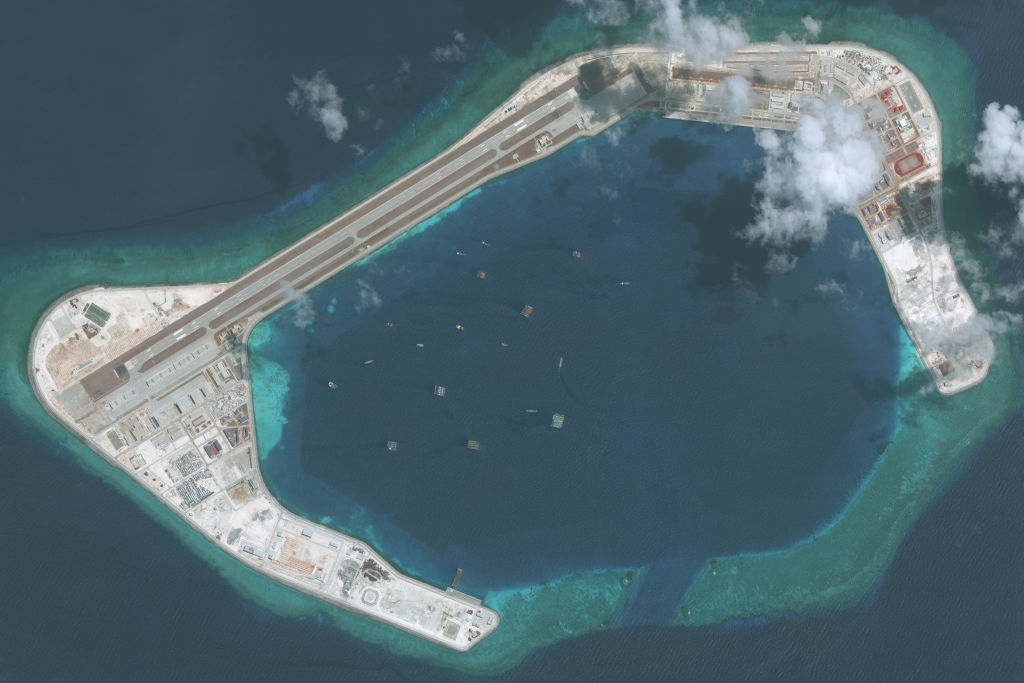 DigitalGlobe imagery of the Subi Reef in the South China Sea, a part of the Spratly Islands group, May 28, 2018.