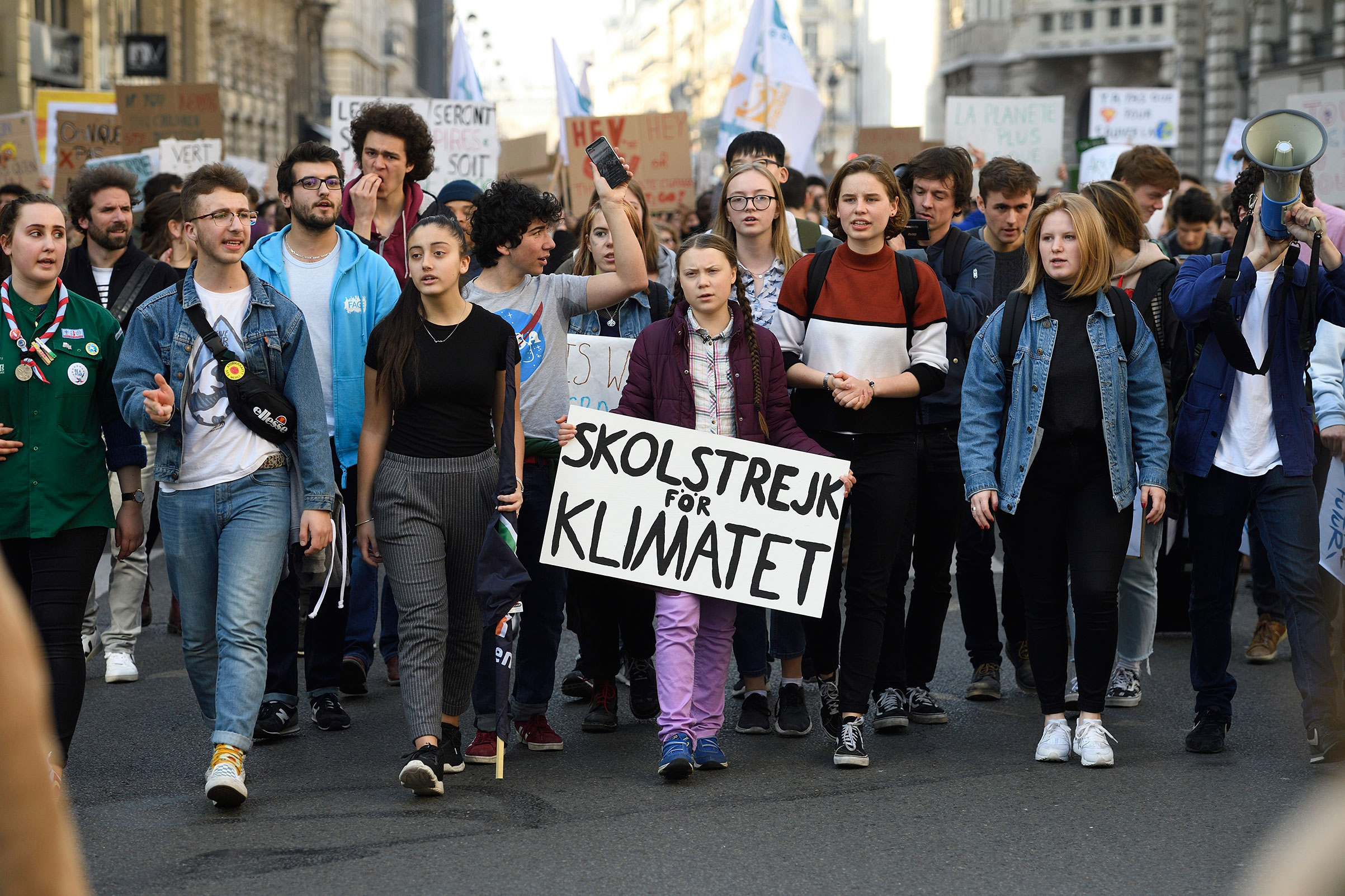 Thunberg joining a school strike in Paris on Feb. 22