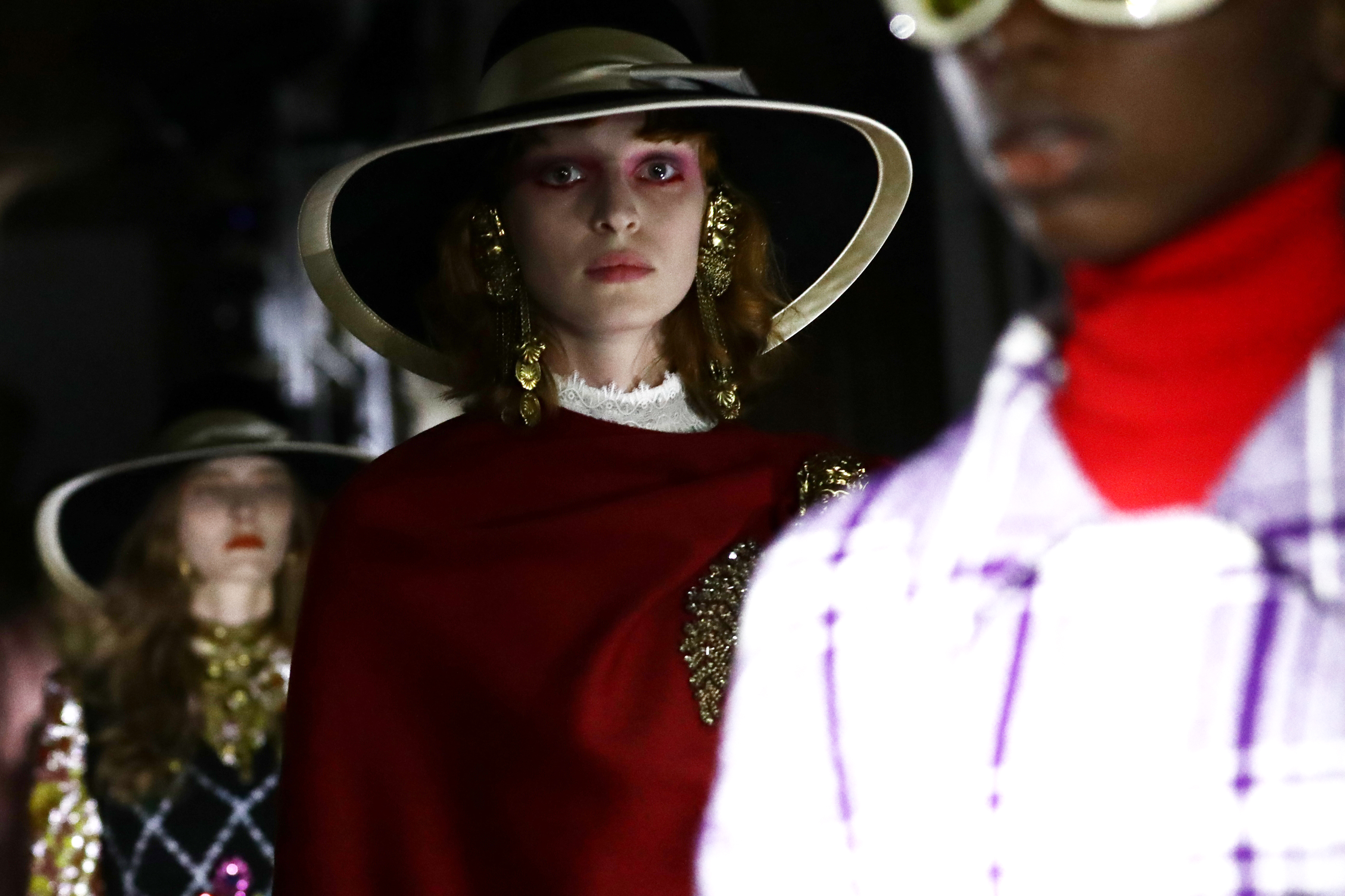 A model walks the runway at the Gucci Cruise 2020 show at Musei Capitolini on May 28, 2019 in Rome, Italy.