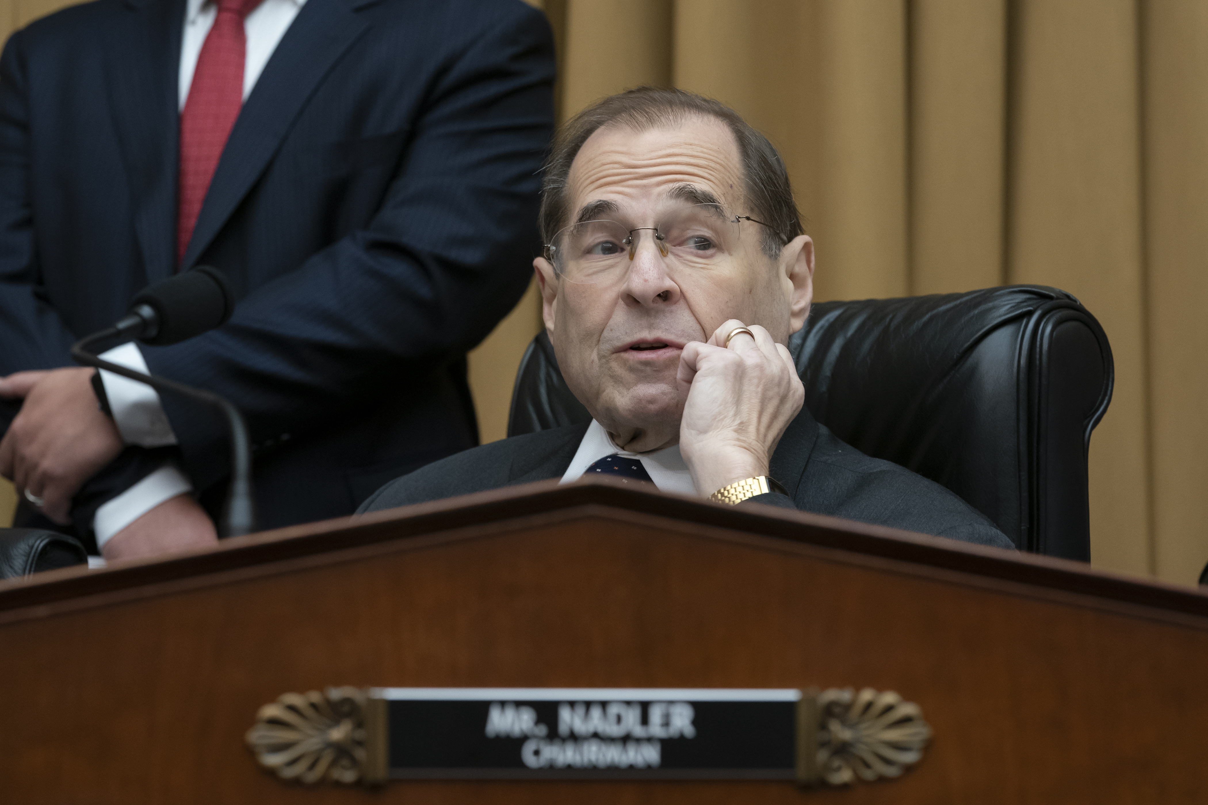 House Judiciary Committee Chair Jerrold Nadler waits to start a hearing on the Mueller report without witness Attorney General William Barr who refused to appear, on Capitol Hill in Washington, Thursday, May 2, 2019. The House Judiciary Committee is threatening to hold William Barr in contempt if he does not provide the full, unredacted Mueller report.