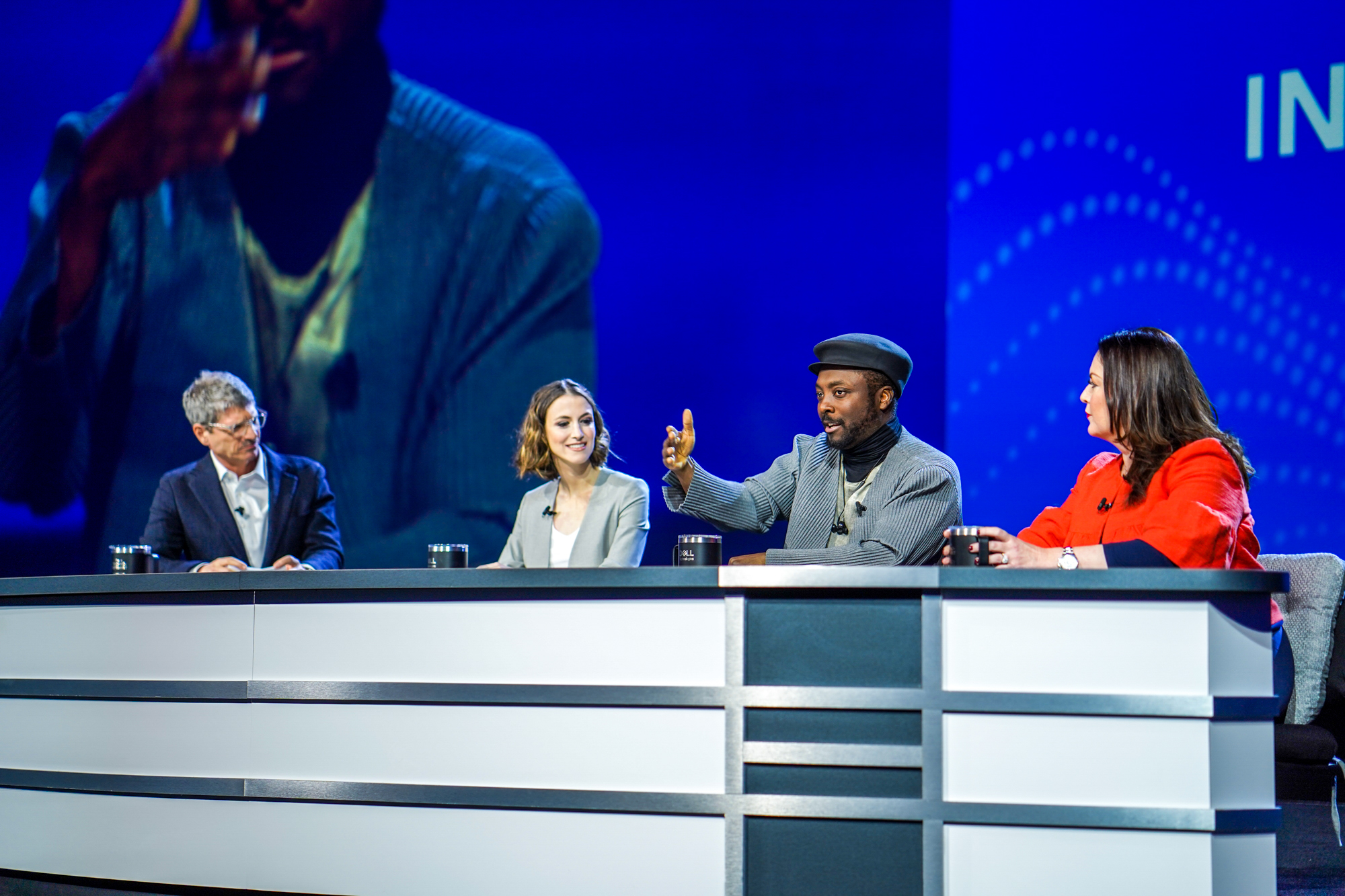 Will.i.am, Dell Chief Marketing Officer Allison Dew and Mirror CEO Brynn Putnam speak at the Dell Technologies World 2019 conference.