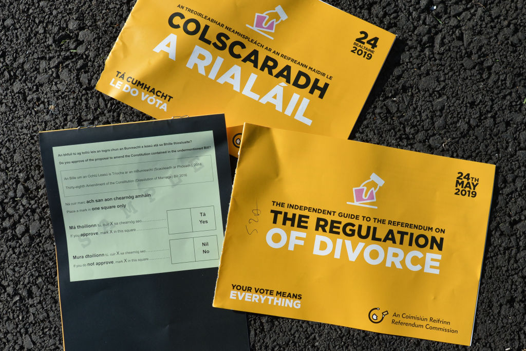 Leaflets relating to the divorce referendum are seen in Irish and English in Dublin, Ireland, on May 15, 2019.