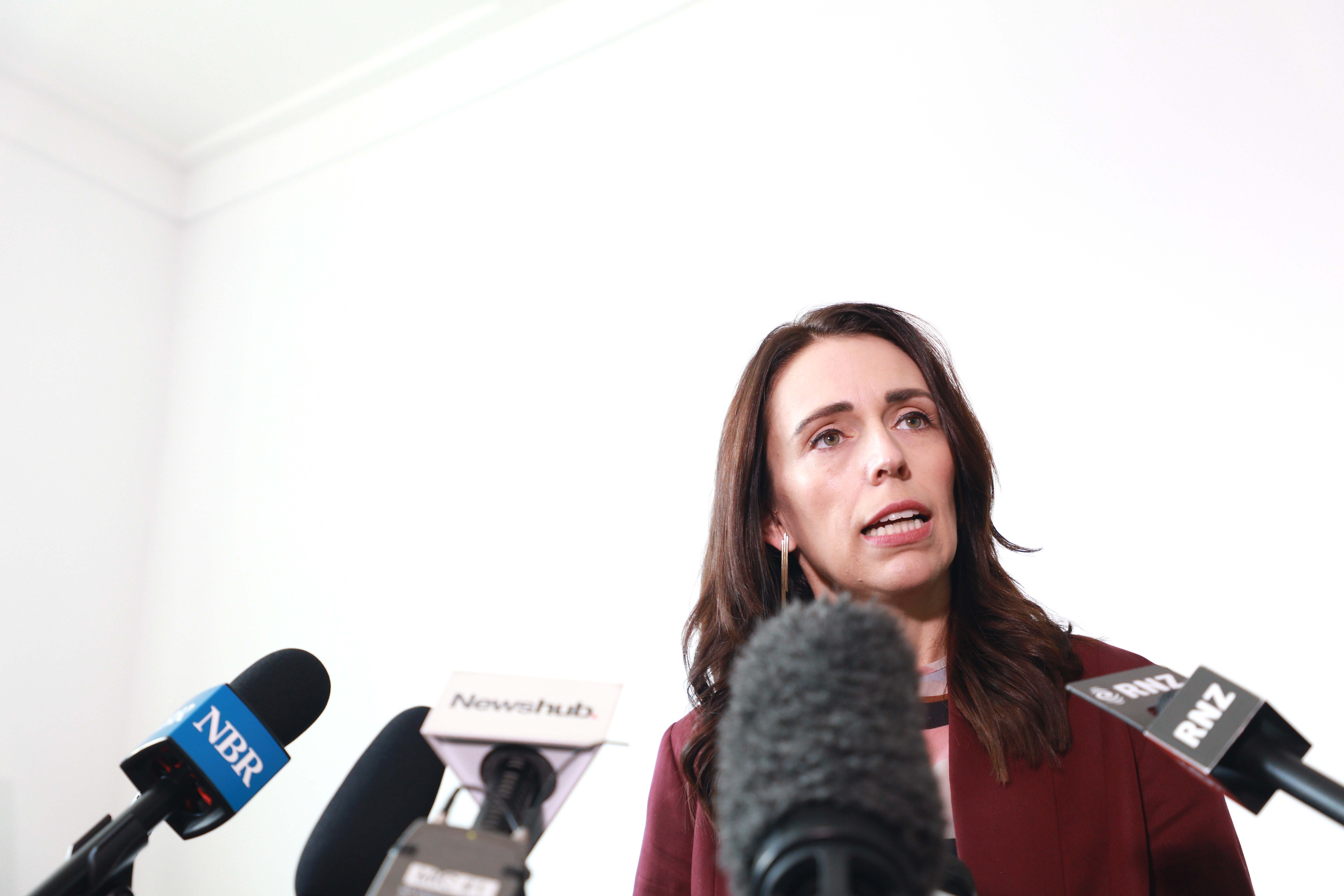 New Zealand Prime Minister Jacinda Ardern speaks to the media at a media conference at Mt Albert Electorate Office on April 24, 2019 in Auckland, New Zealand. New Zealand and France have announced that the two countries will lead global efforts to try to end the use of social media to organize and promote terrorism.