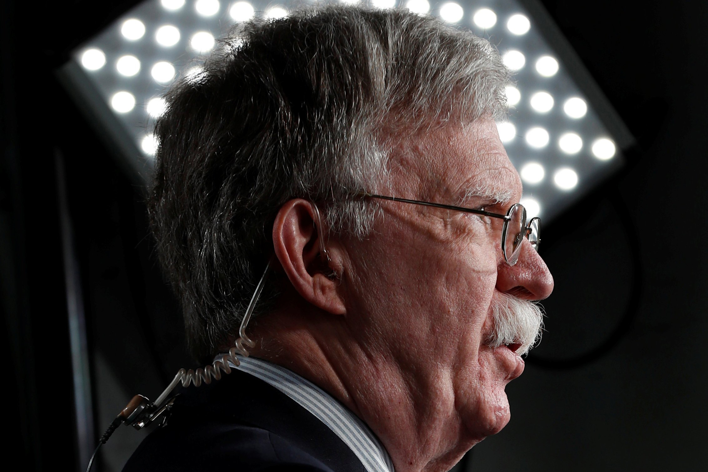 John Bolton, the national security advisor, speaks in front of a television camera at the White House in Washington on May 1, 2019.